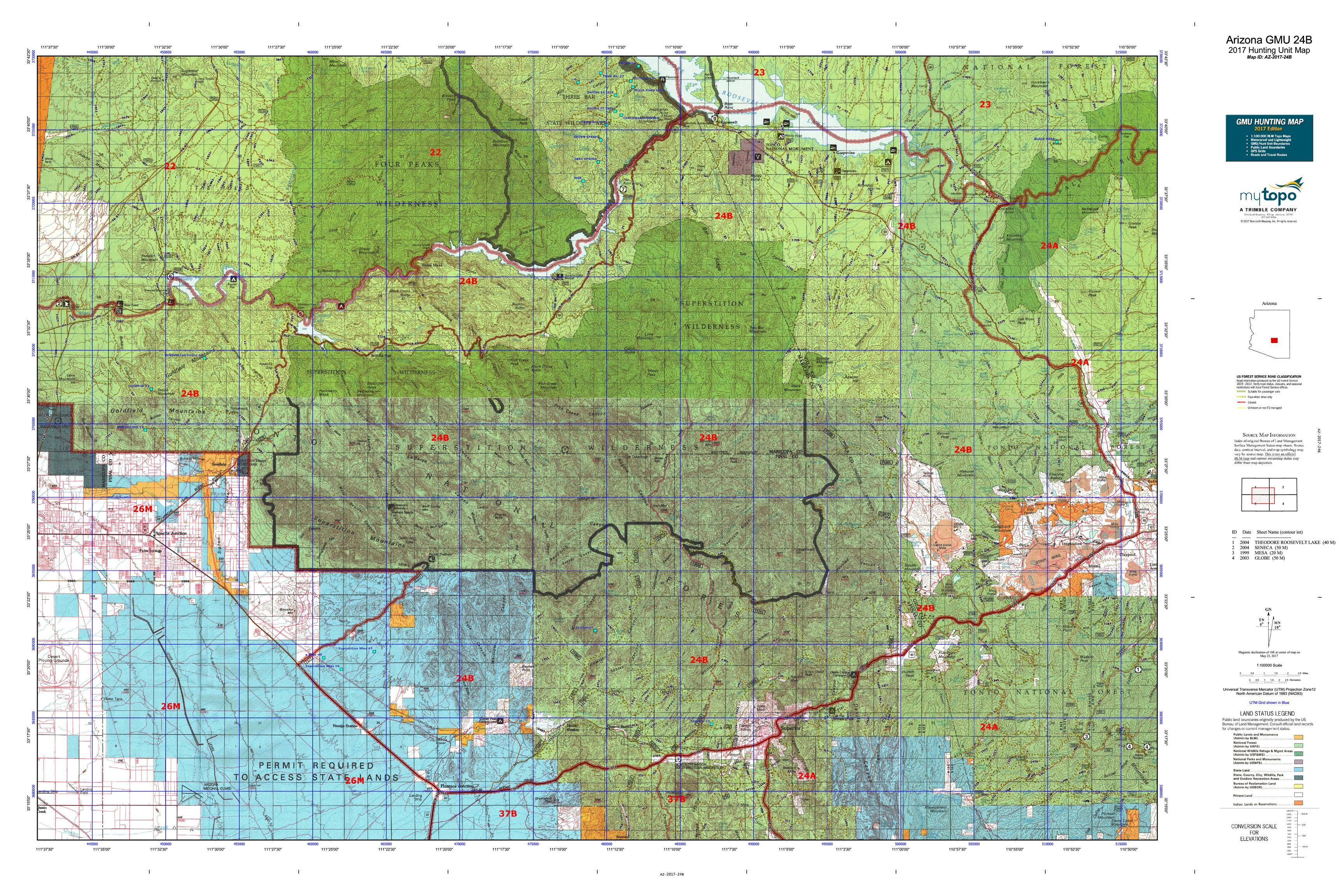 Arizona gmu 24b map mytopo for Arizona game and fish locations