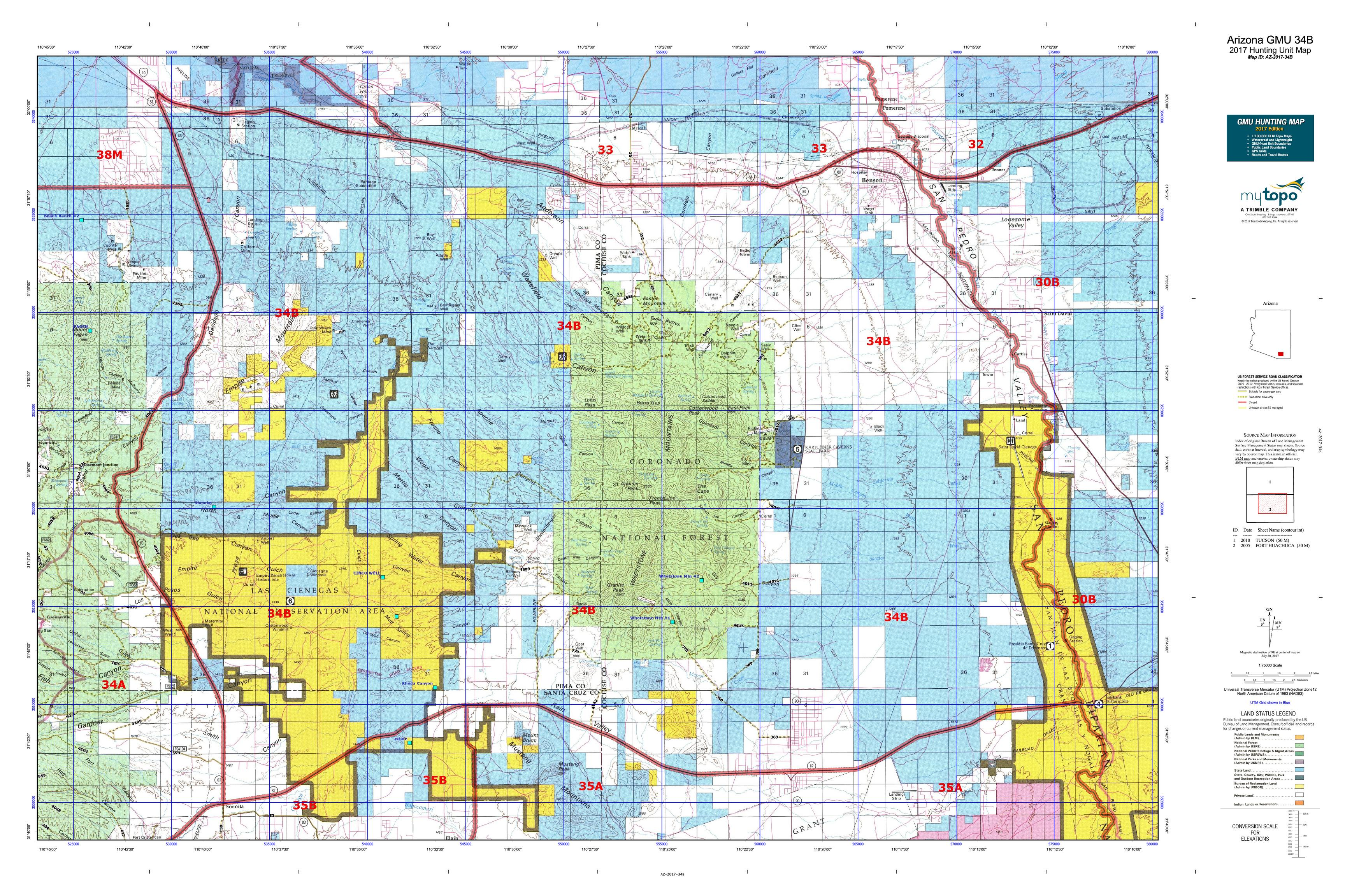 Arizona gmu 34b map mytopo for Arizona game and fish locations