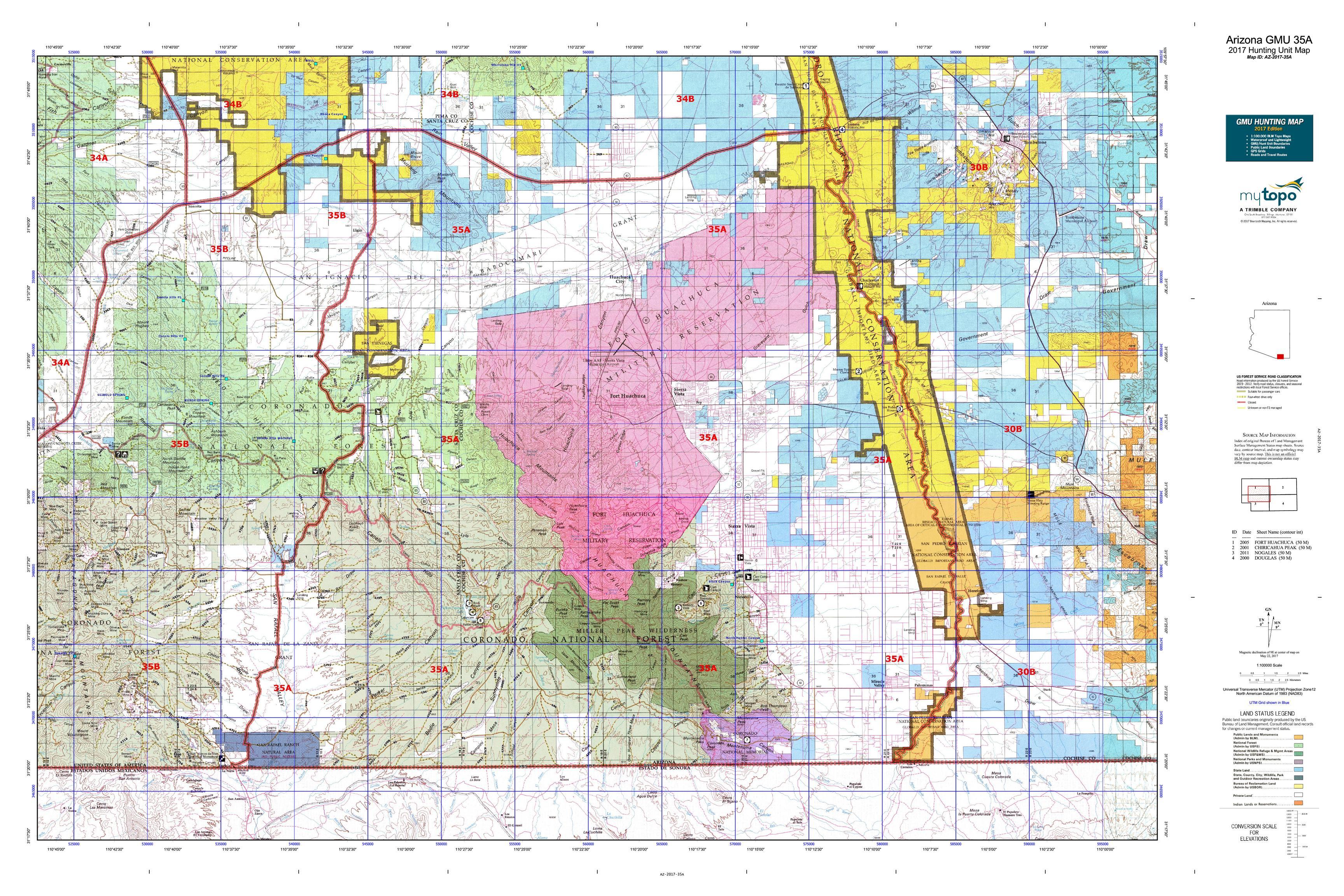 Arizona GMU A Map MyTopo - Map arizona