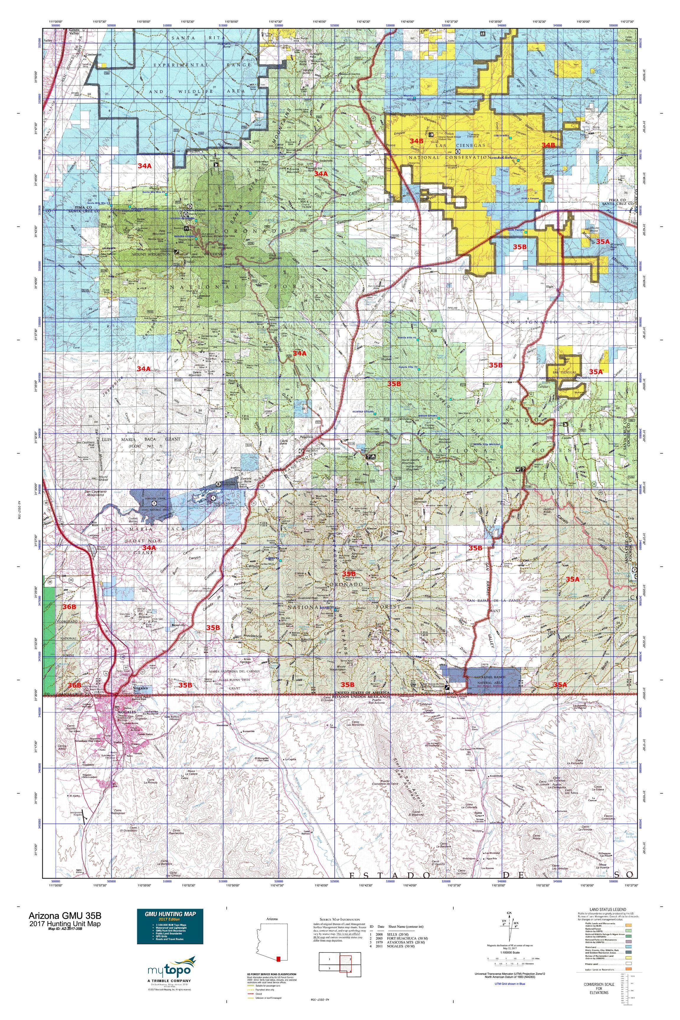 Arizona GMU B Map MyTopo - Az map