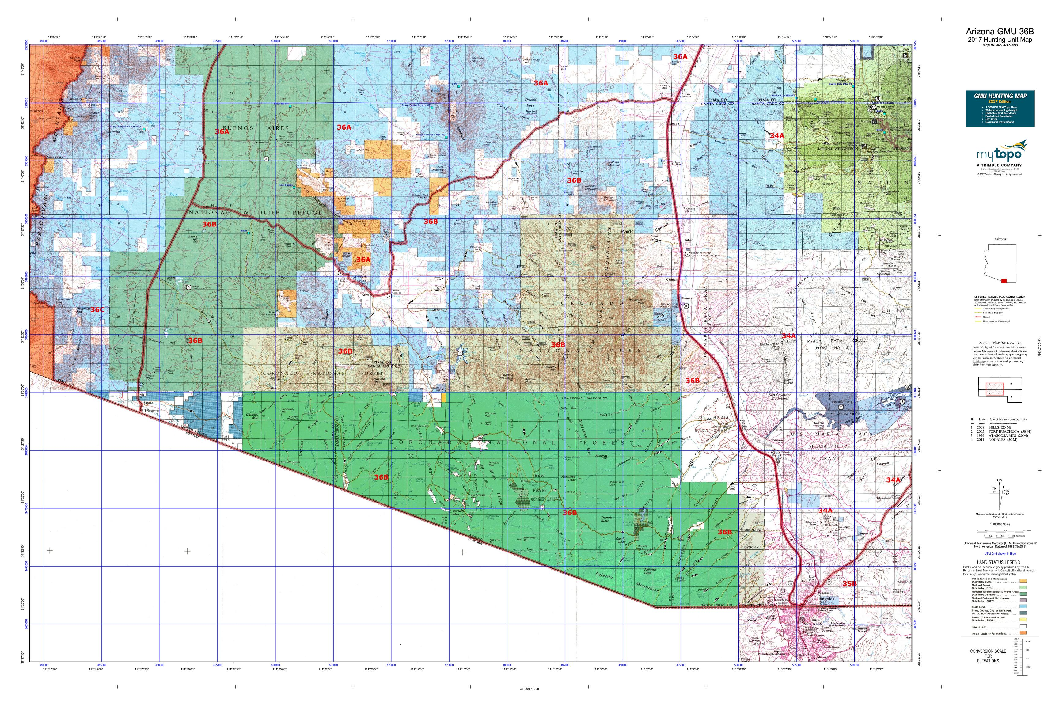 Arizona gmu 36b map mytopo for Arizona game and fish locations