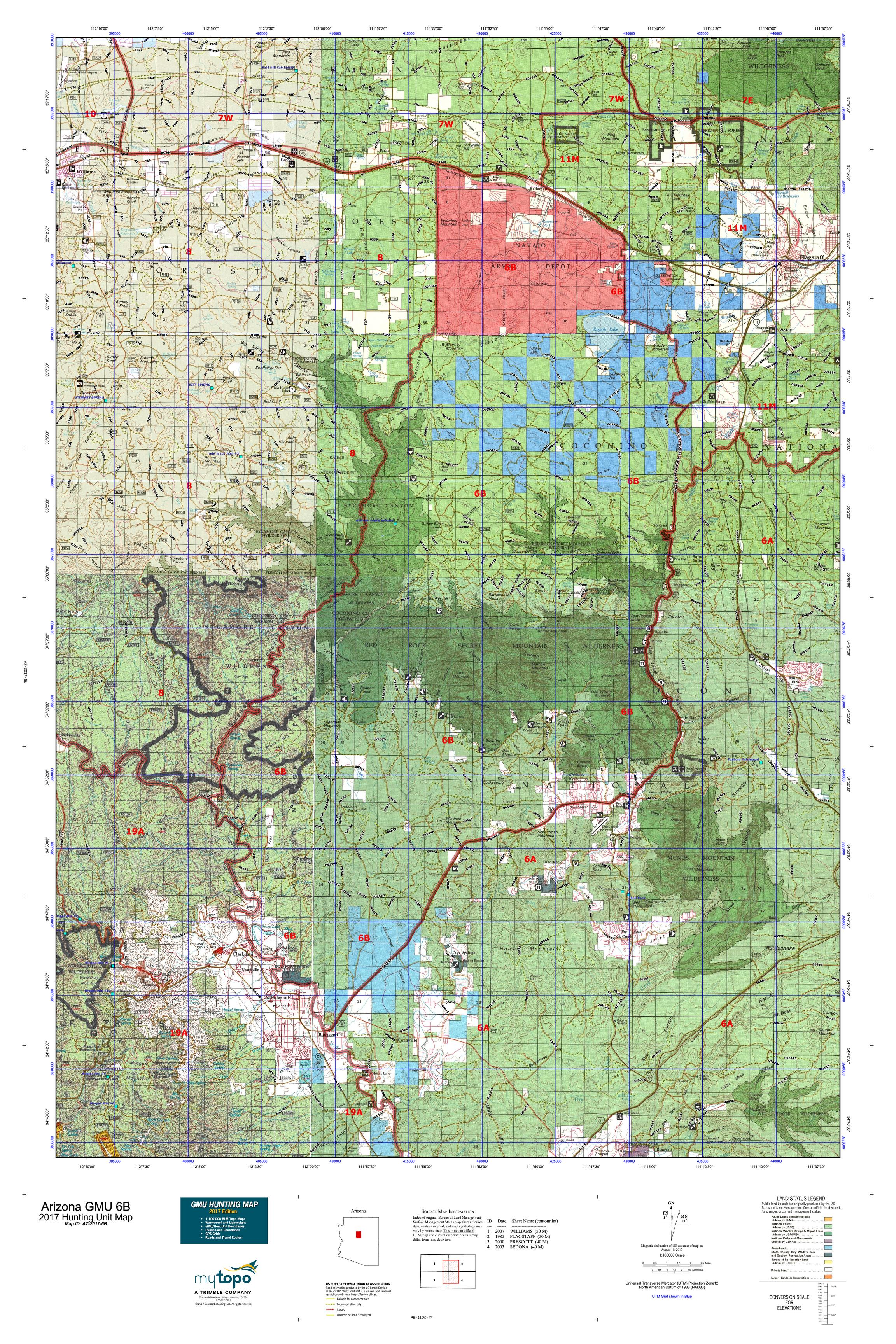 Arizona gmu 6b map mytopo for Arizona game and fish locations
