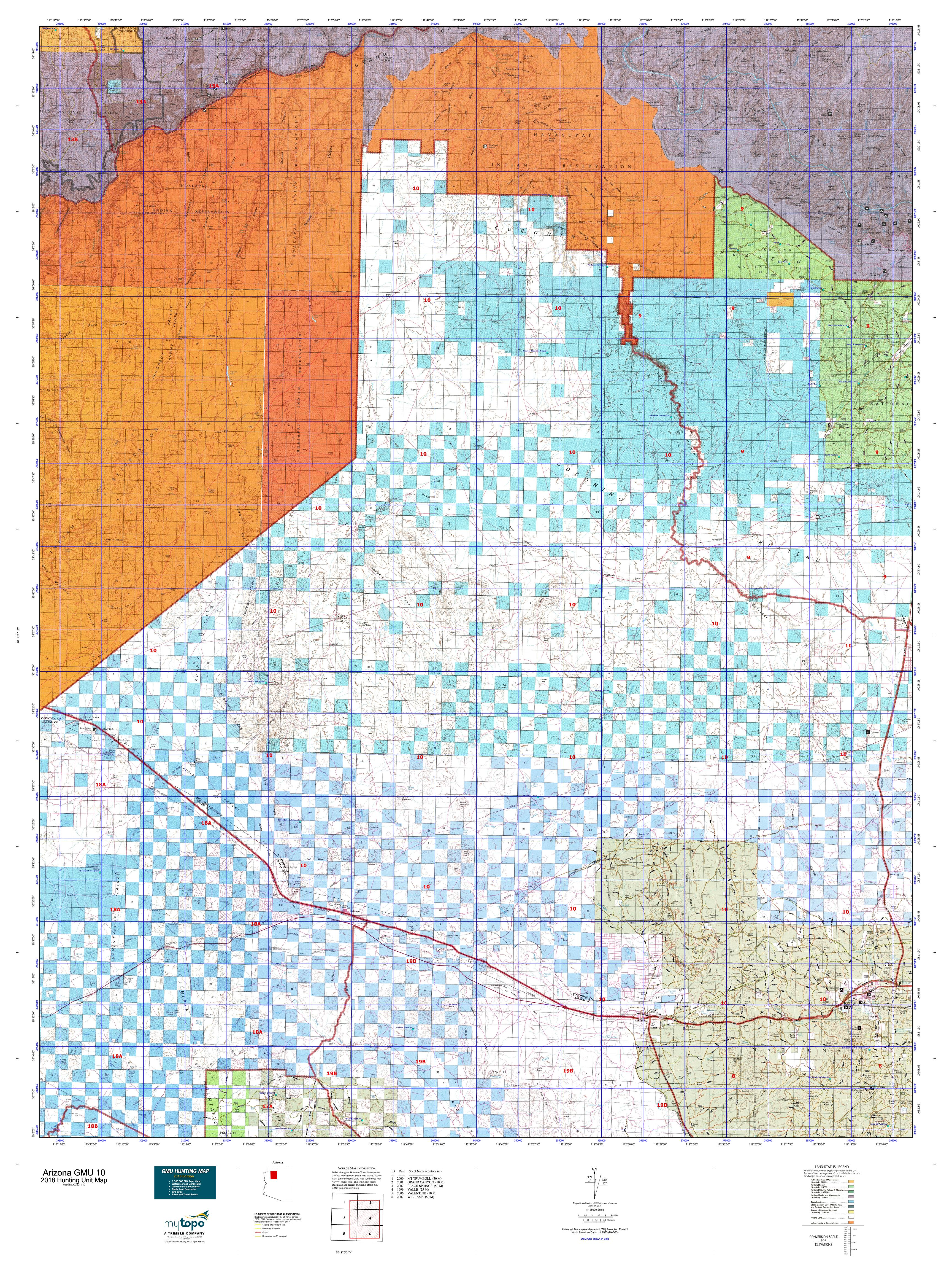 Map Of I 10 Arizona.Arizona Gmu 10 Map Mytopo