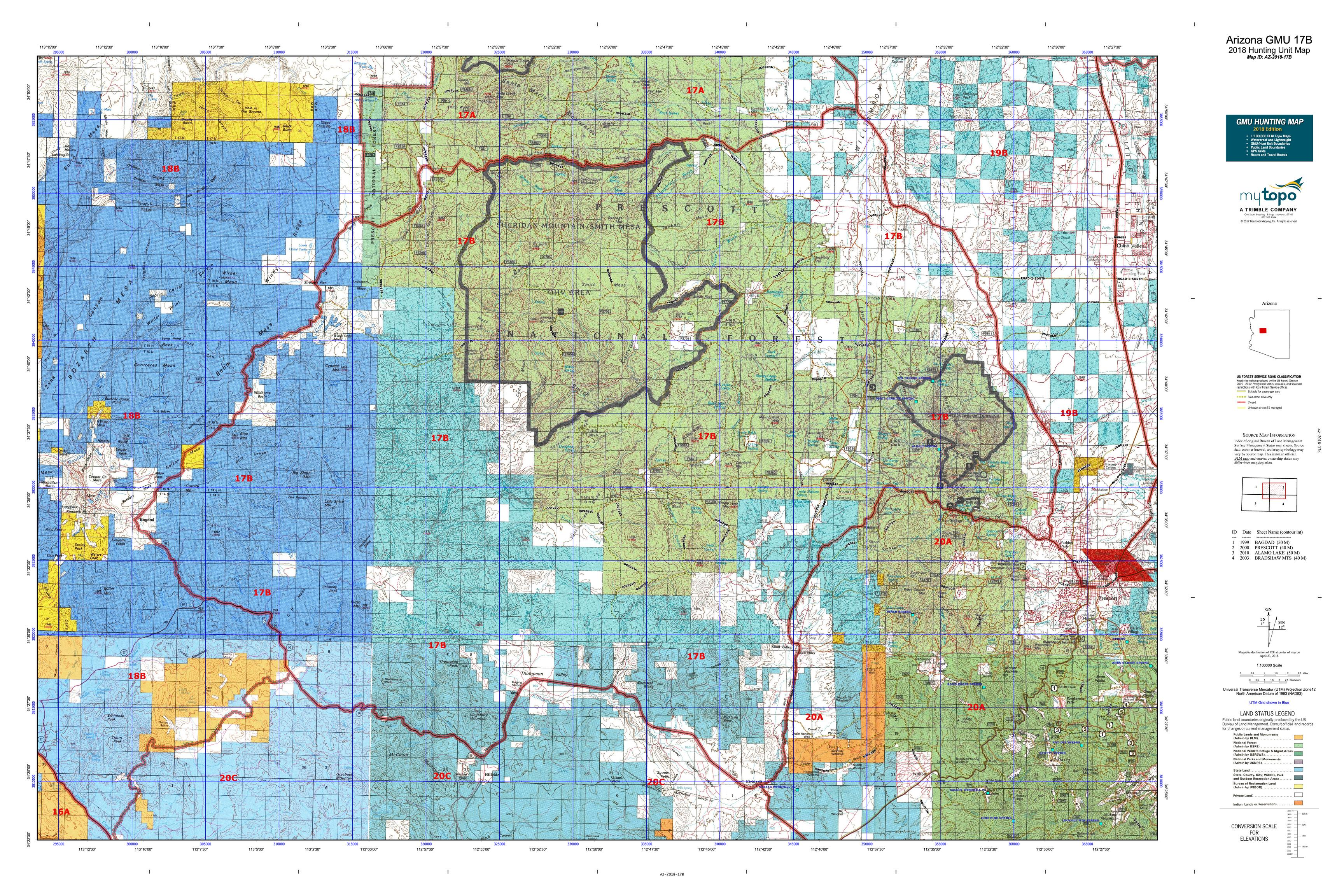 Map Of Arizona Border.Arizona Gmu 17b Map Mytopo