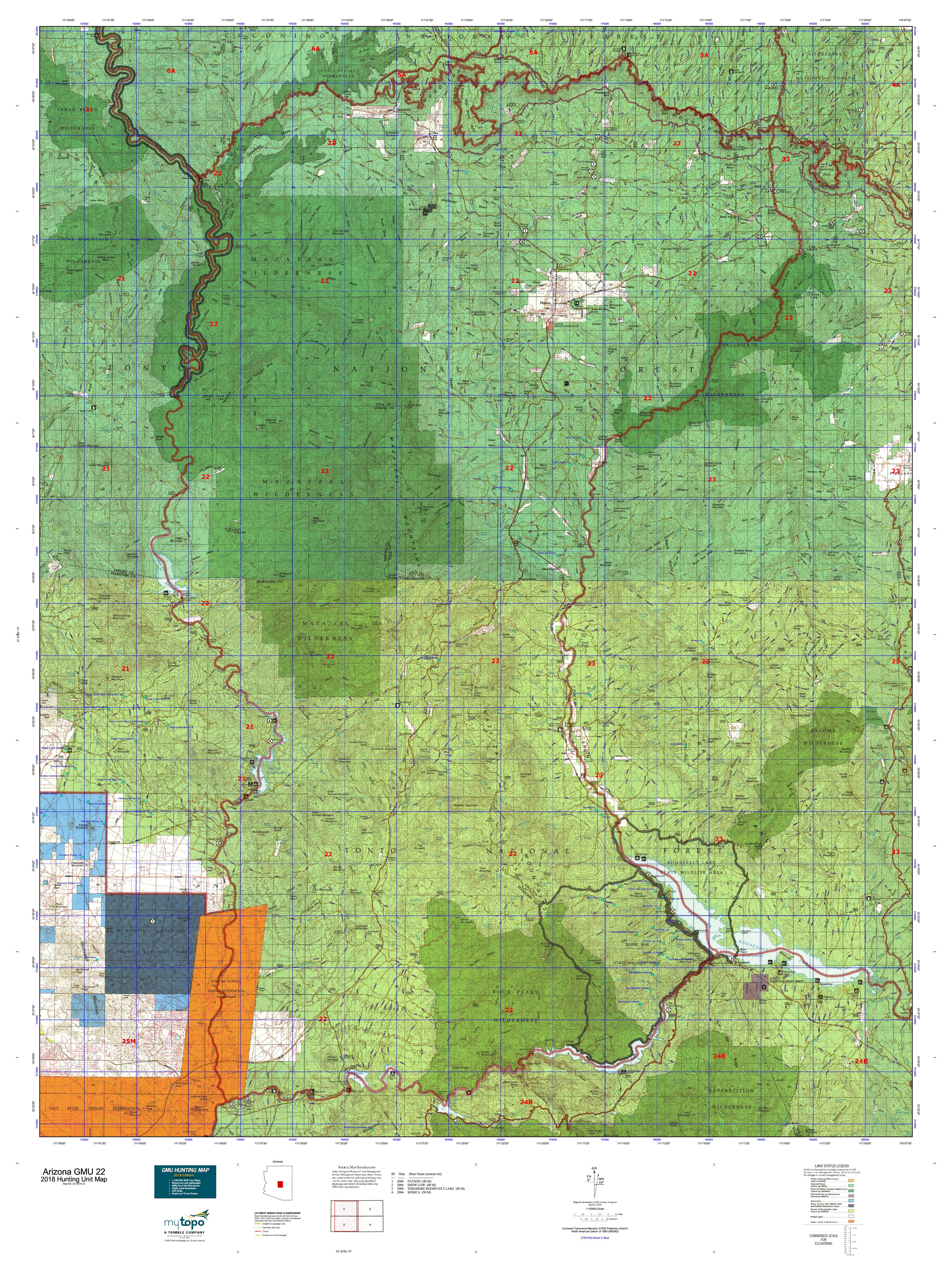 Arizona GMU 22 Map | MyTopo
