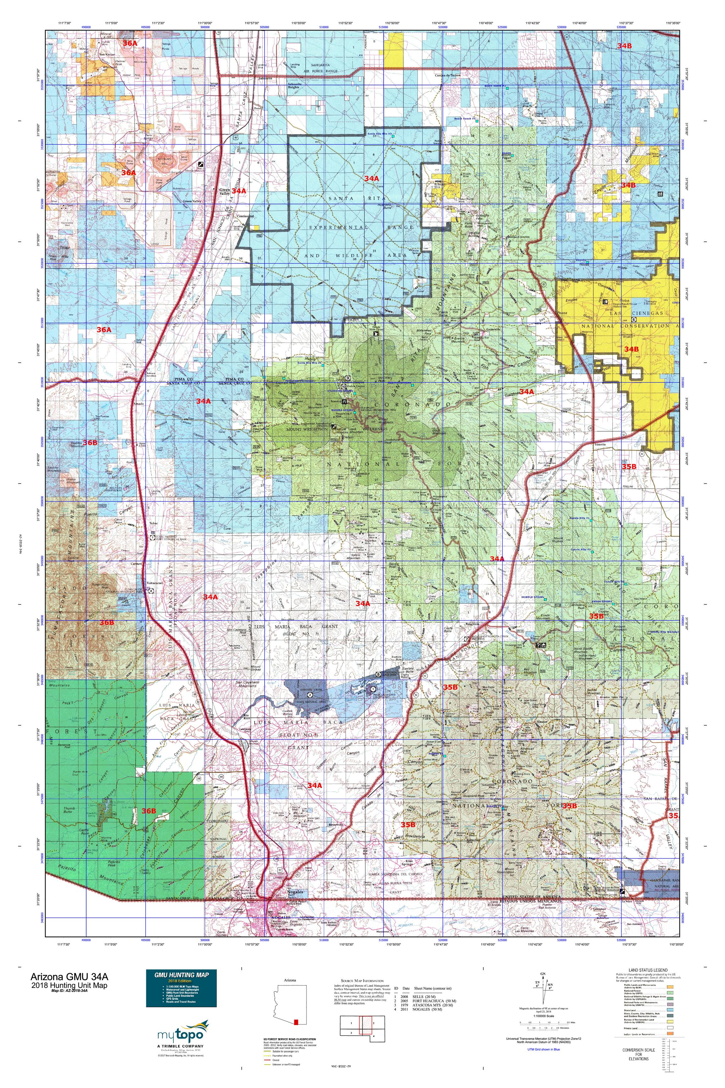Travel Map Of Arizona.Arizona Gmu 34a Map Mytopo