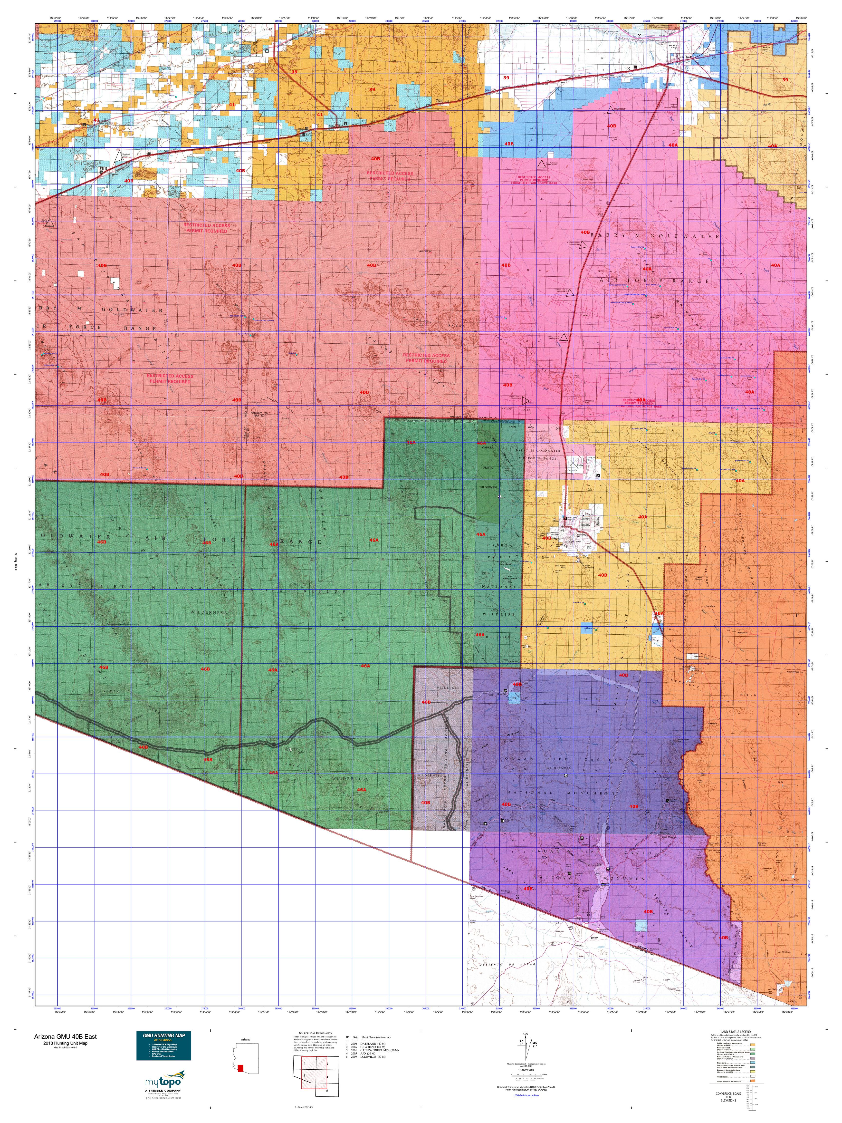 Map Of East Arizona.Arizona Gmu 40b East Map Mytopo