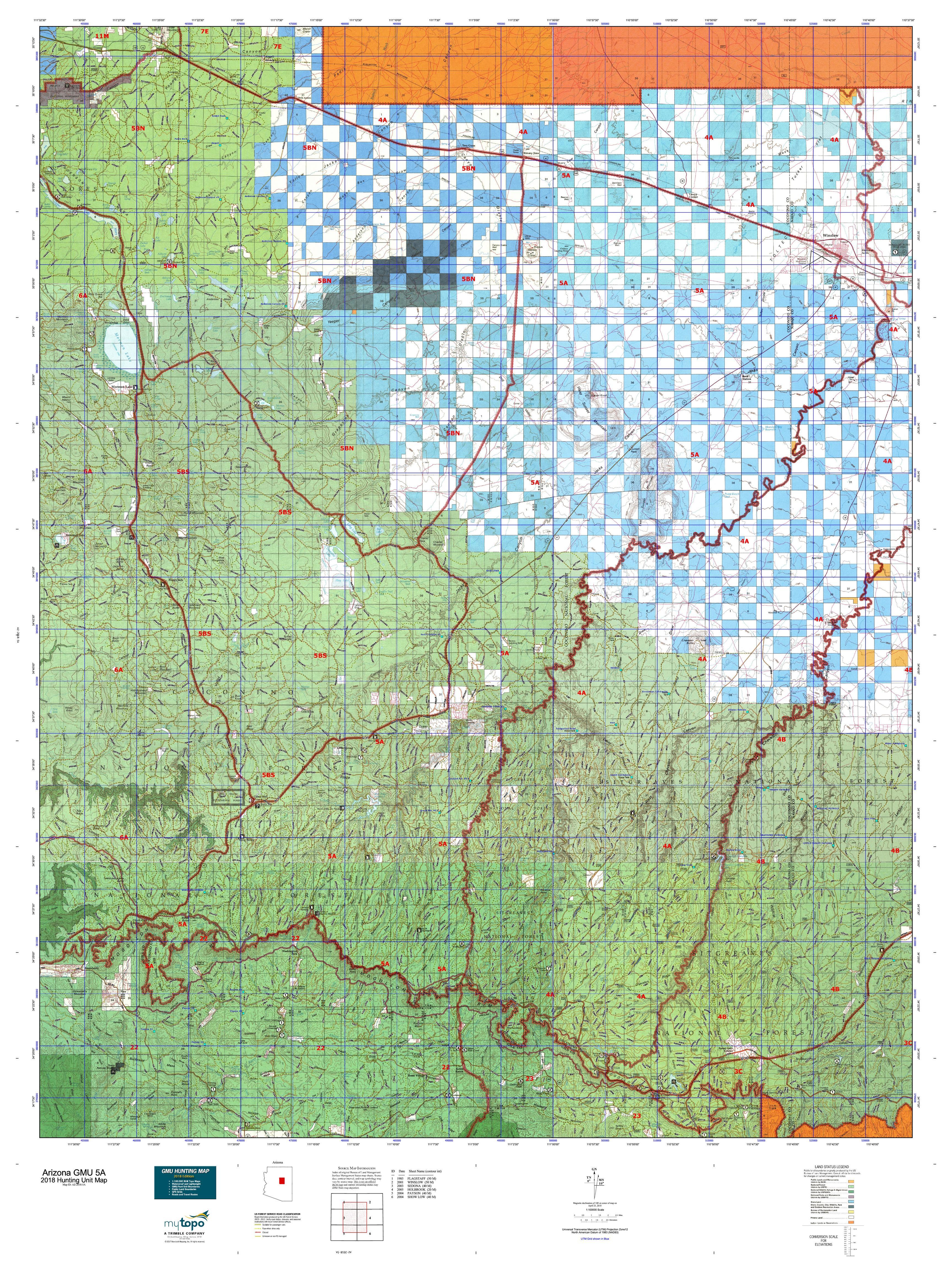 Map Of Unit 5a Arizona.Arizona Gmu 5a Map Mytopo