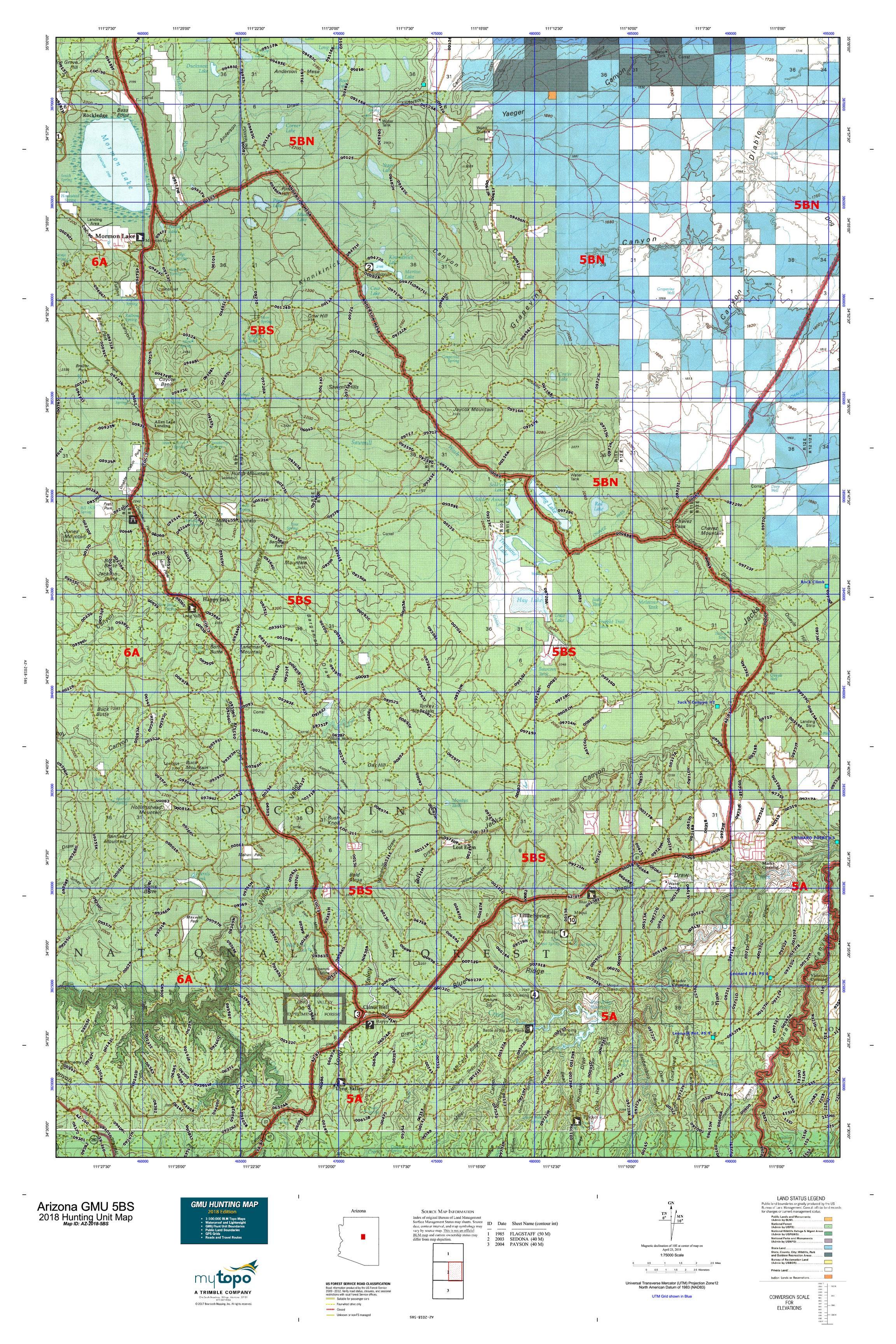 Map Of South Arizona.Arizona Gmu 5bs Map Mytopo