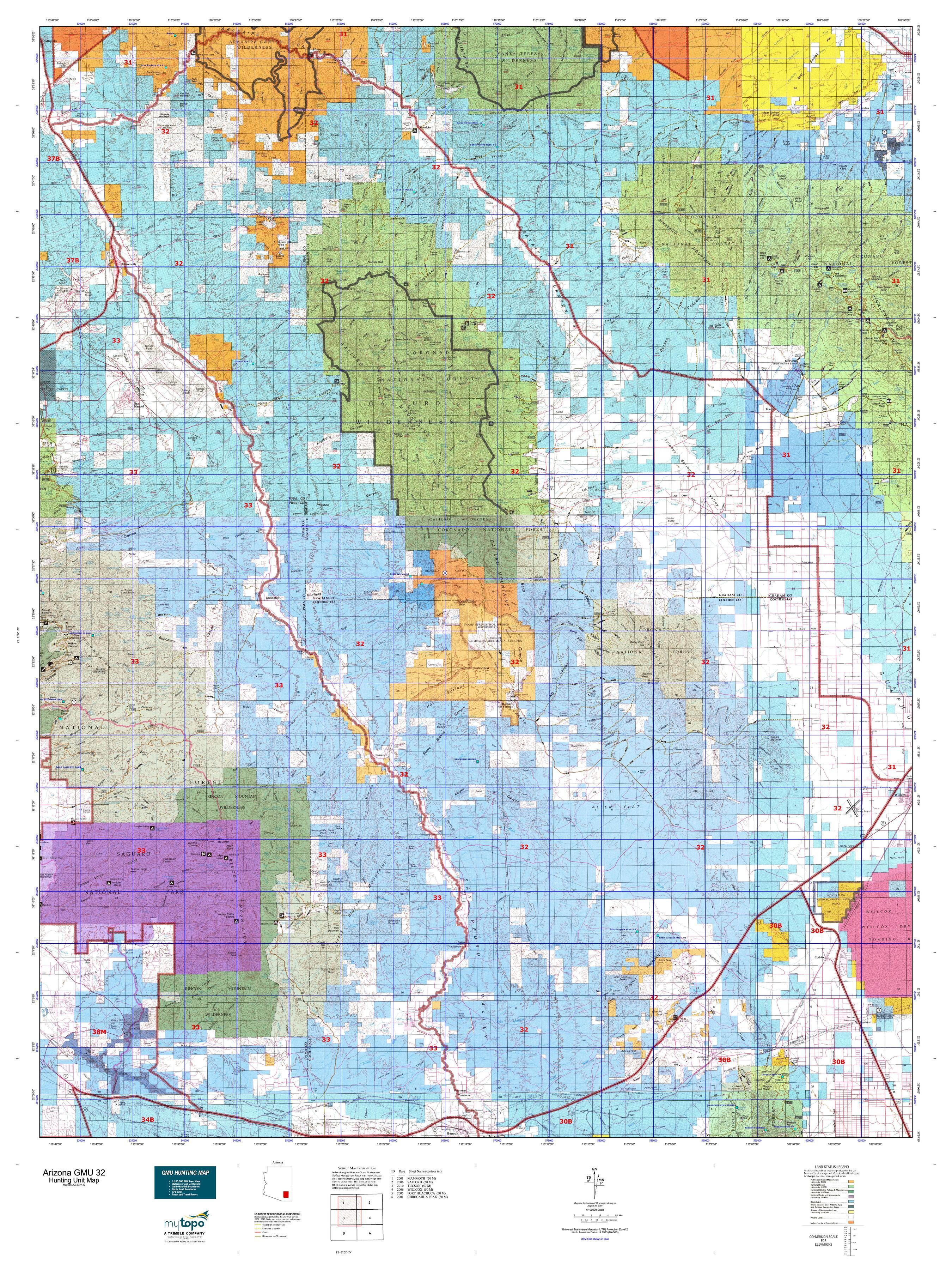 Arizona GMU 32 Map | MyTopo