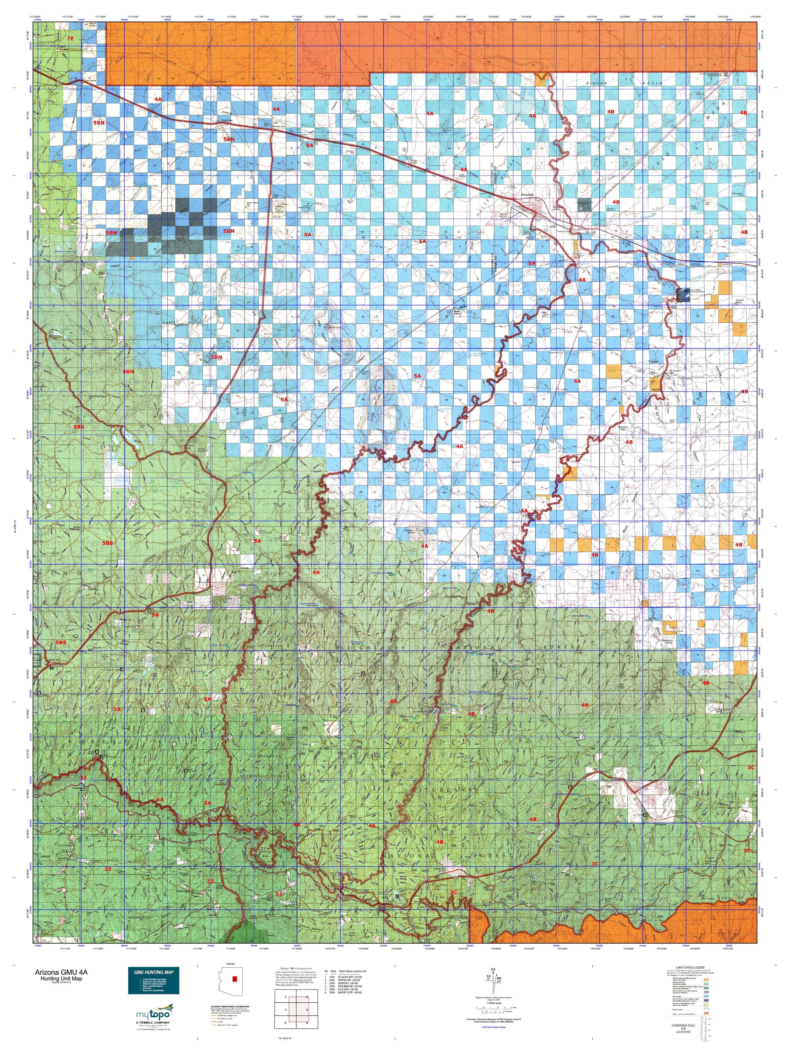 Map Of Unit 4a Arizona.Arizona Gmu 4a Map Mytopo
