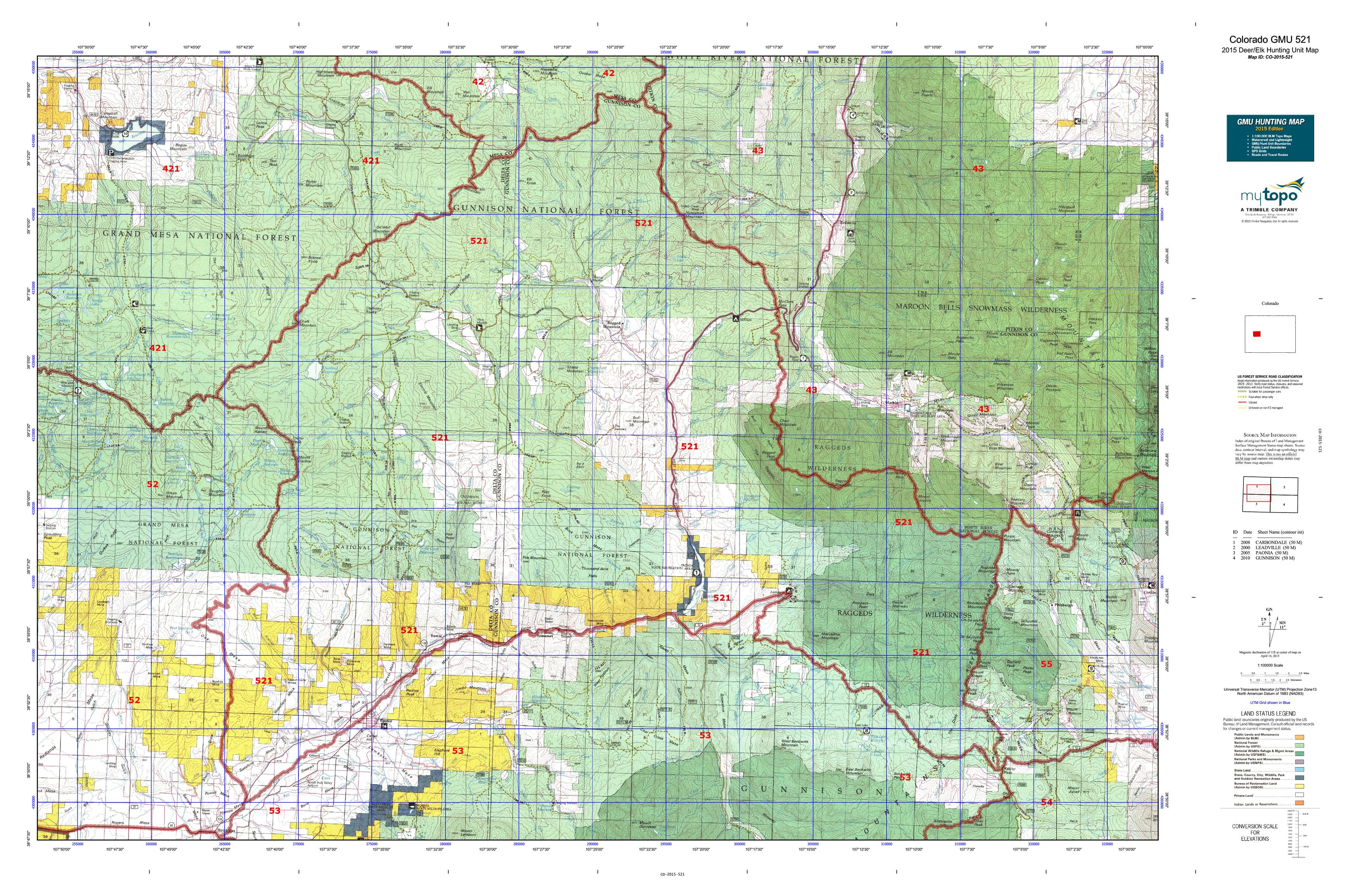 Colorado GMU 521 Map  MyTopo