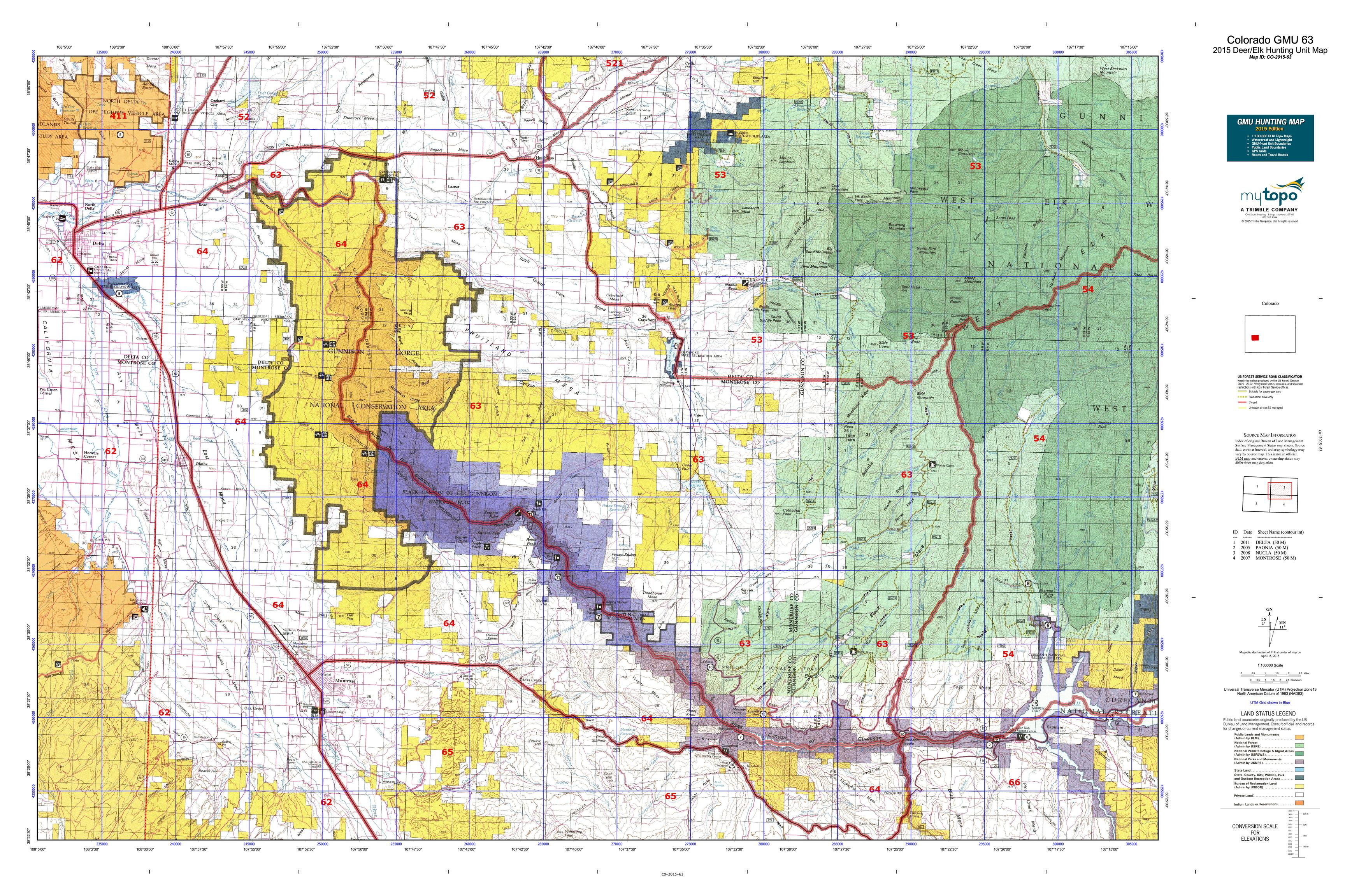 Colorado GMU 63 Map  MyTopo