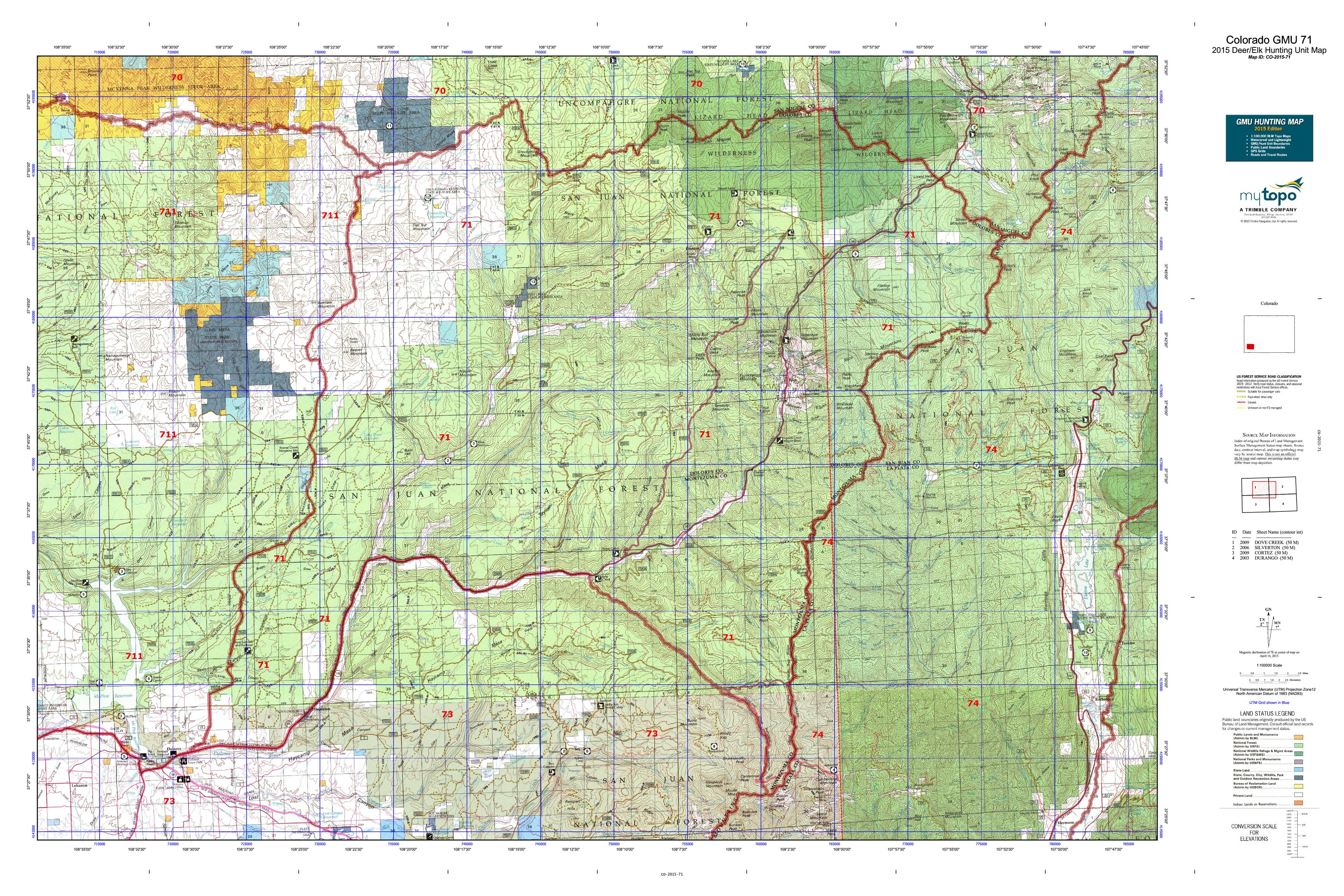 Colorado GMU 71 Map  MyTopo