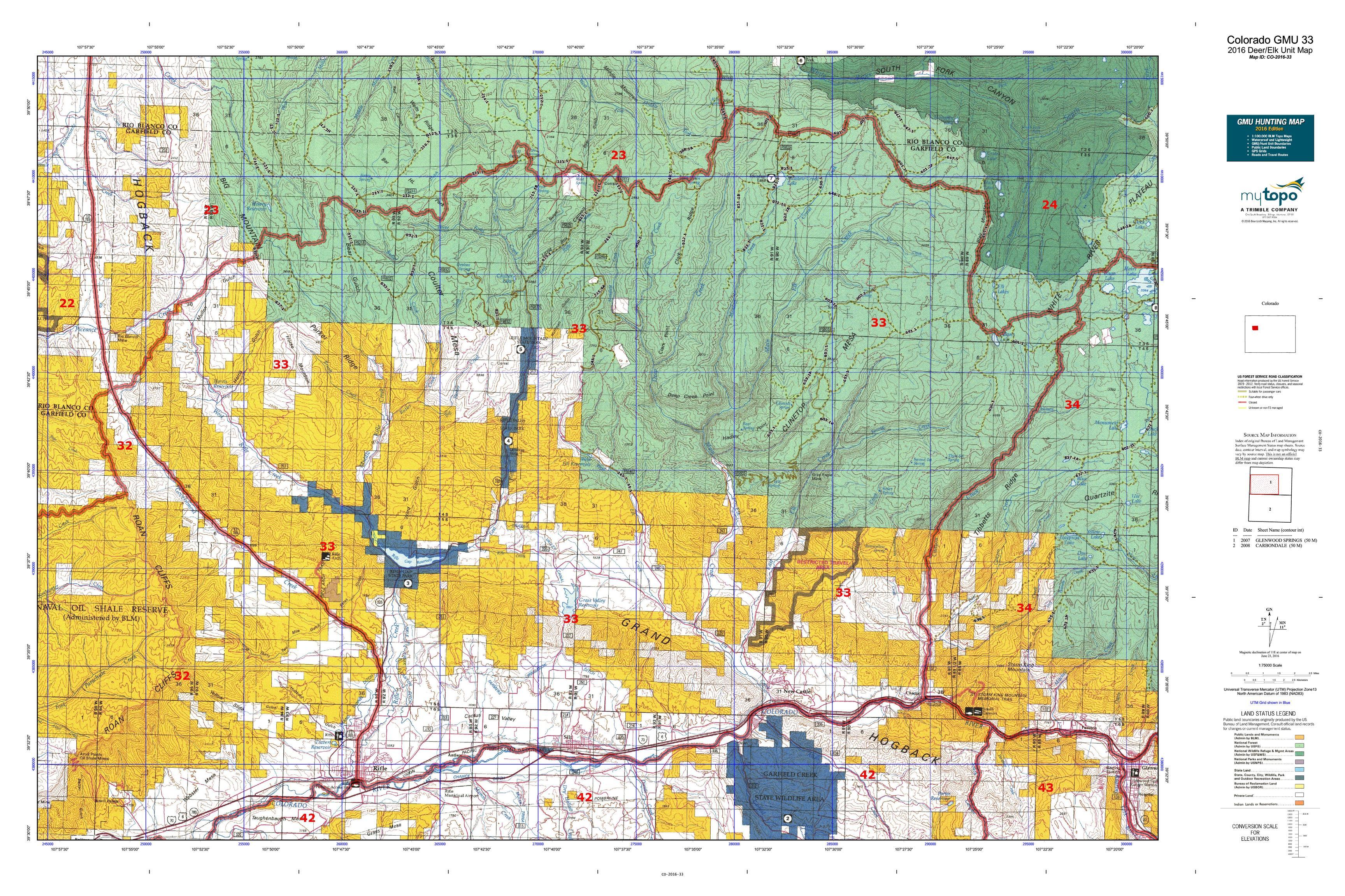 Colorado GMU 33 Map  MyTopo