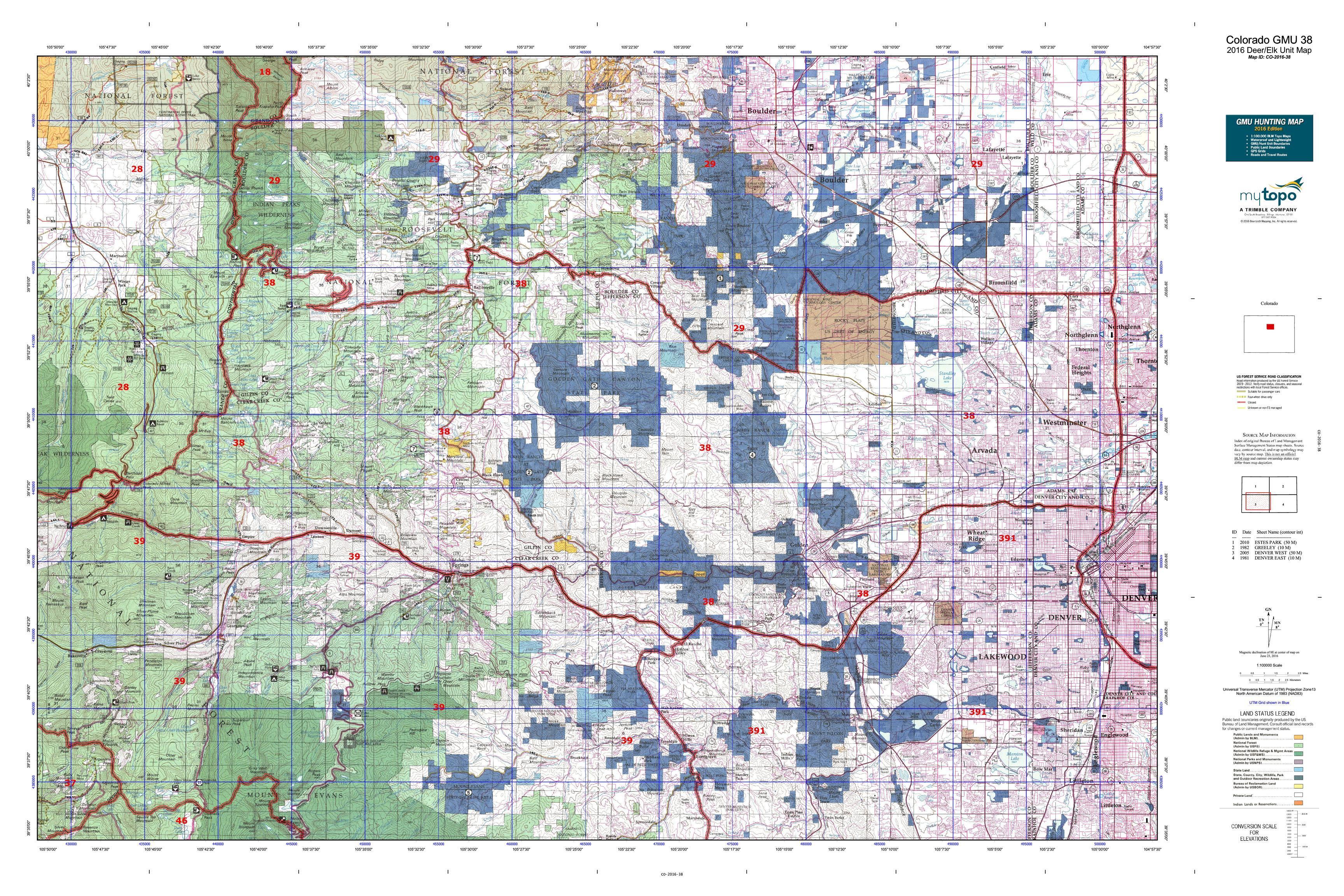 Colorado GMU 38 Map  MyTopo
