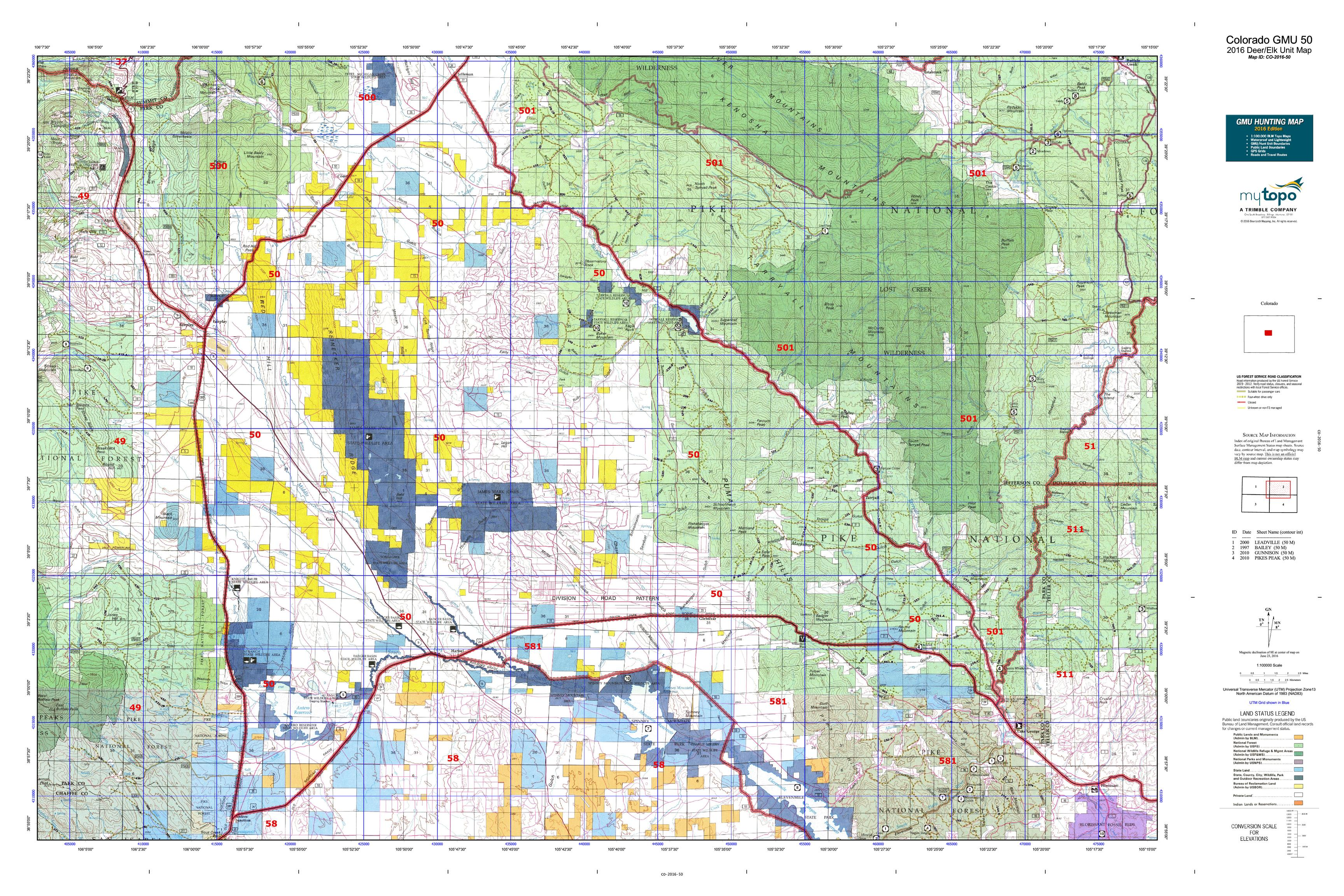 Colorado GMU 50 Map  MyTopo