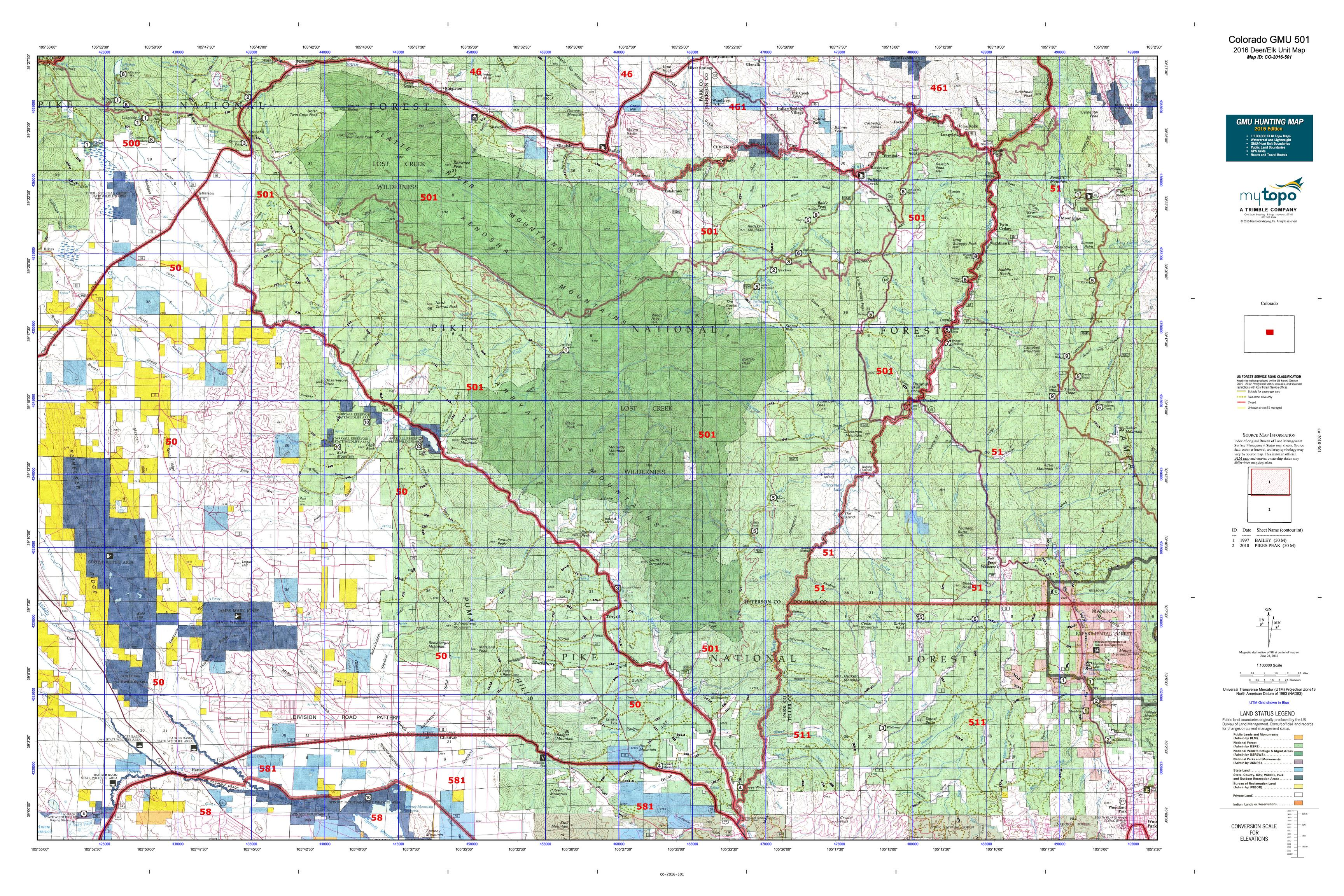 Colorado GMU 501 Map  MyTopo