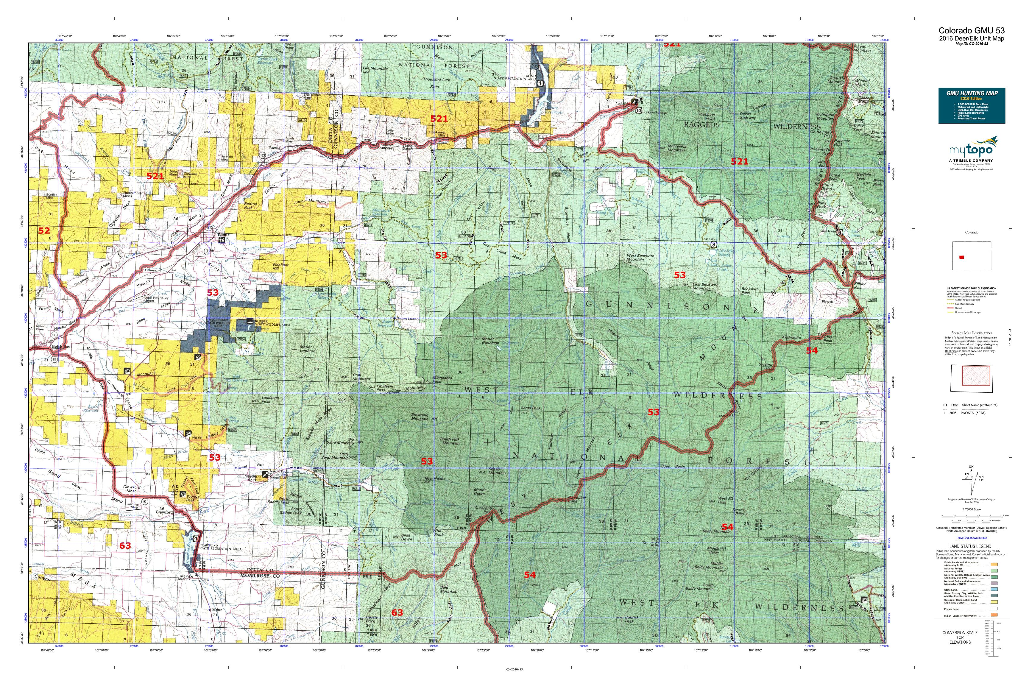 Colorado GMU 53 Map  MyTopo