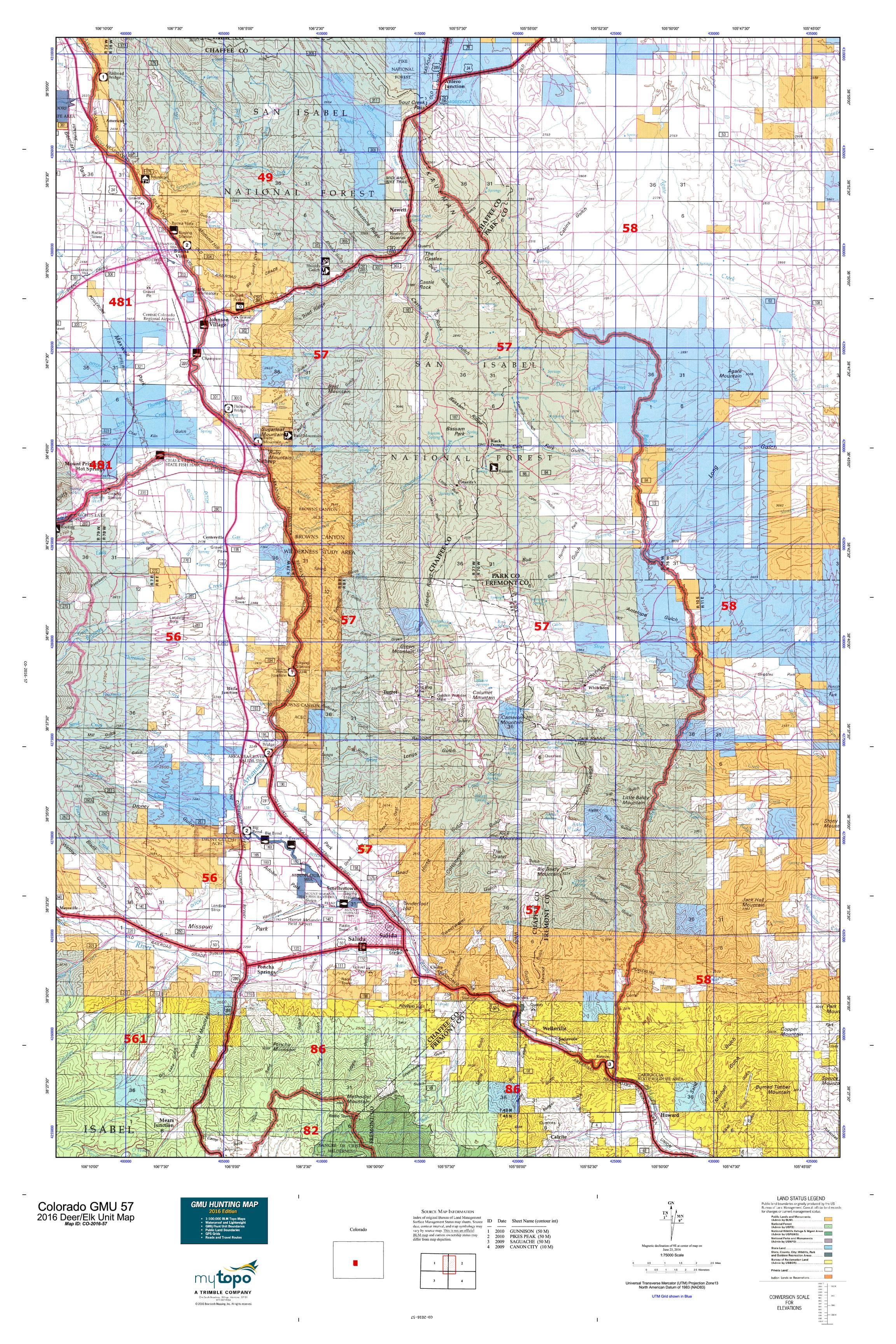 Colorado GMU 57 Map  MyTopo