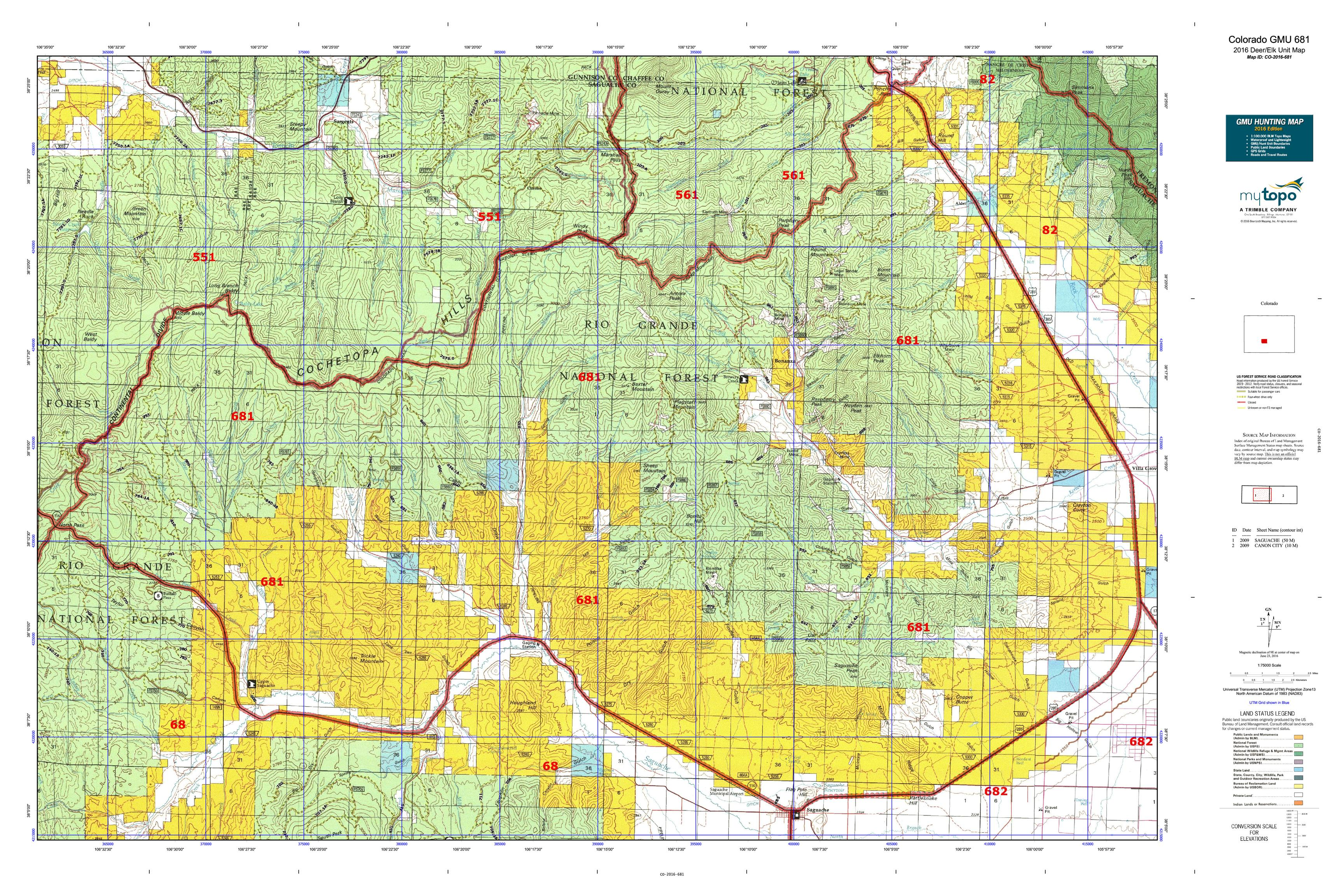 Colorado GMU 681 Map  MyTopo