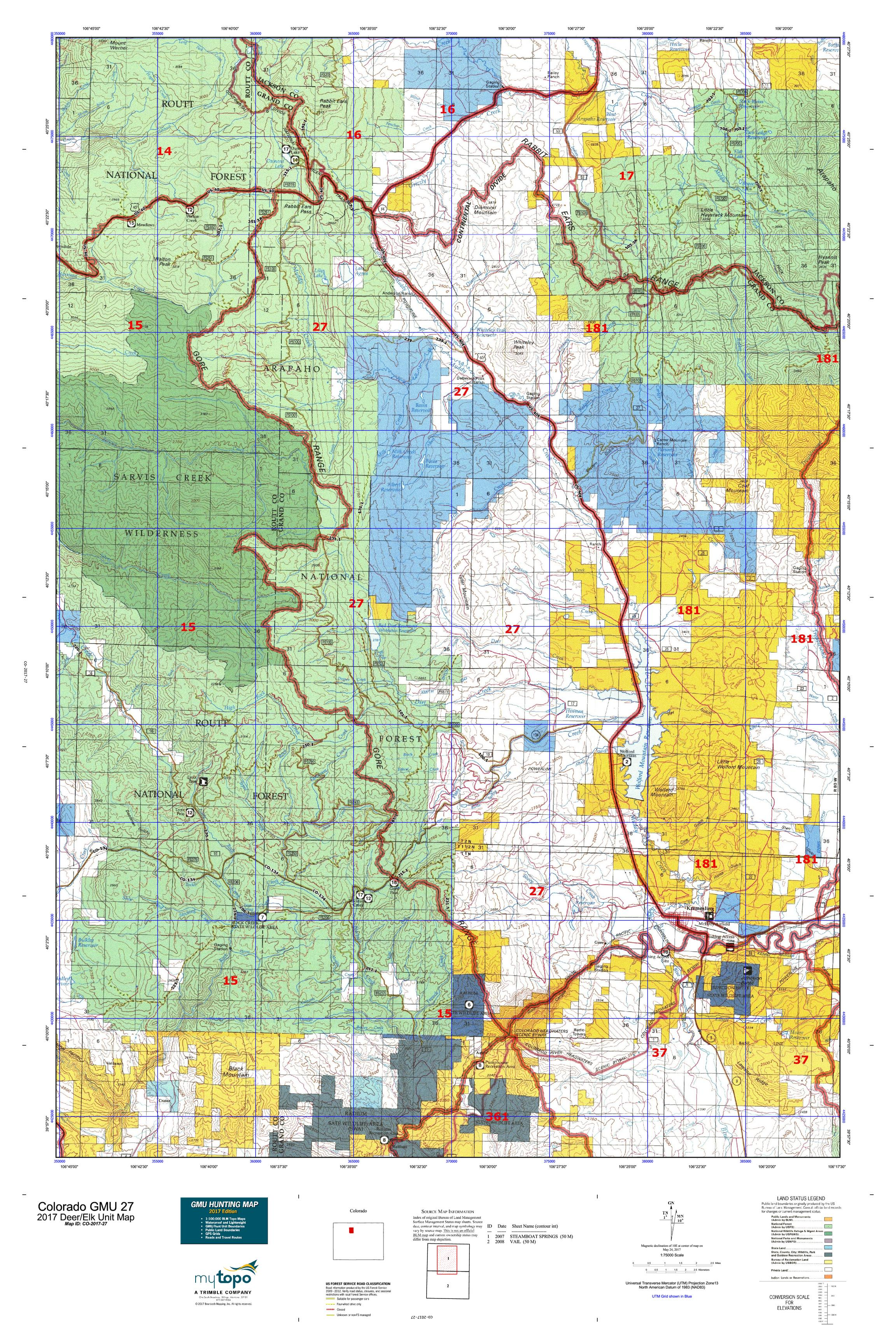 Colorado GMU Map MyTopo - Map for colorado