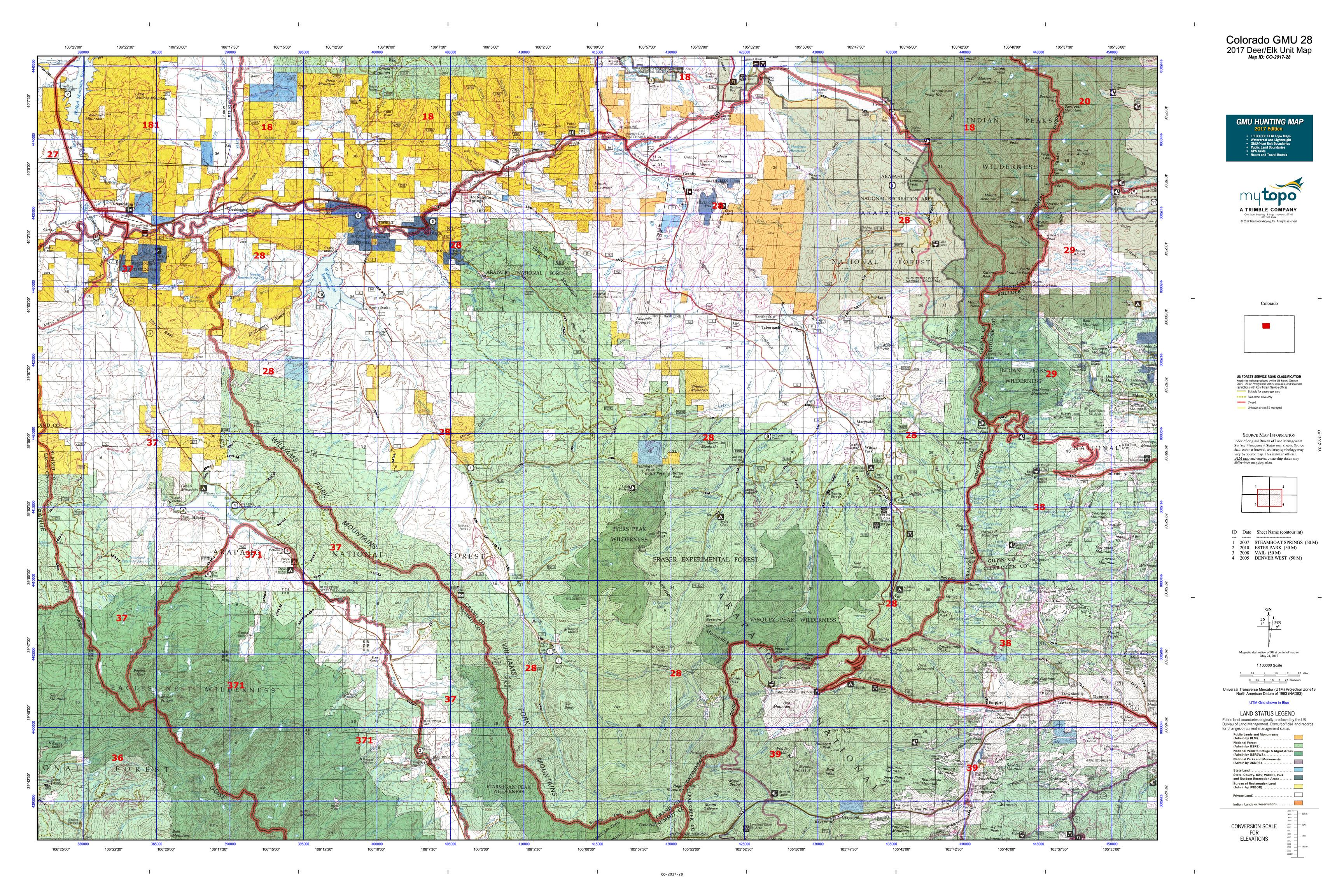 Colorado GMU  Map MyTopo - Us forest map colorado