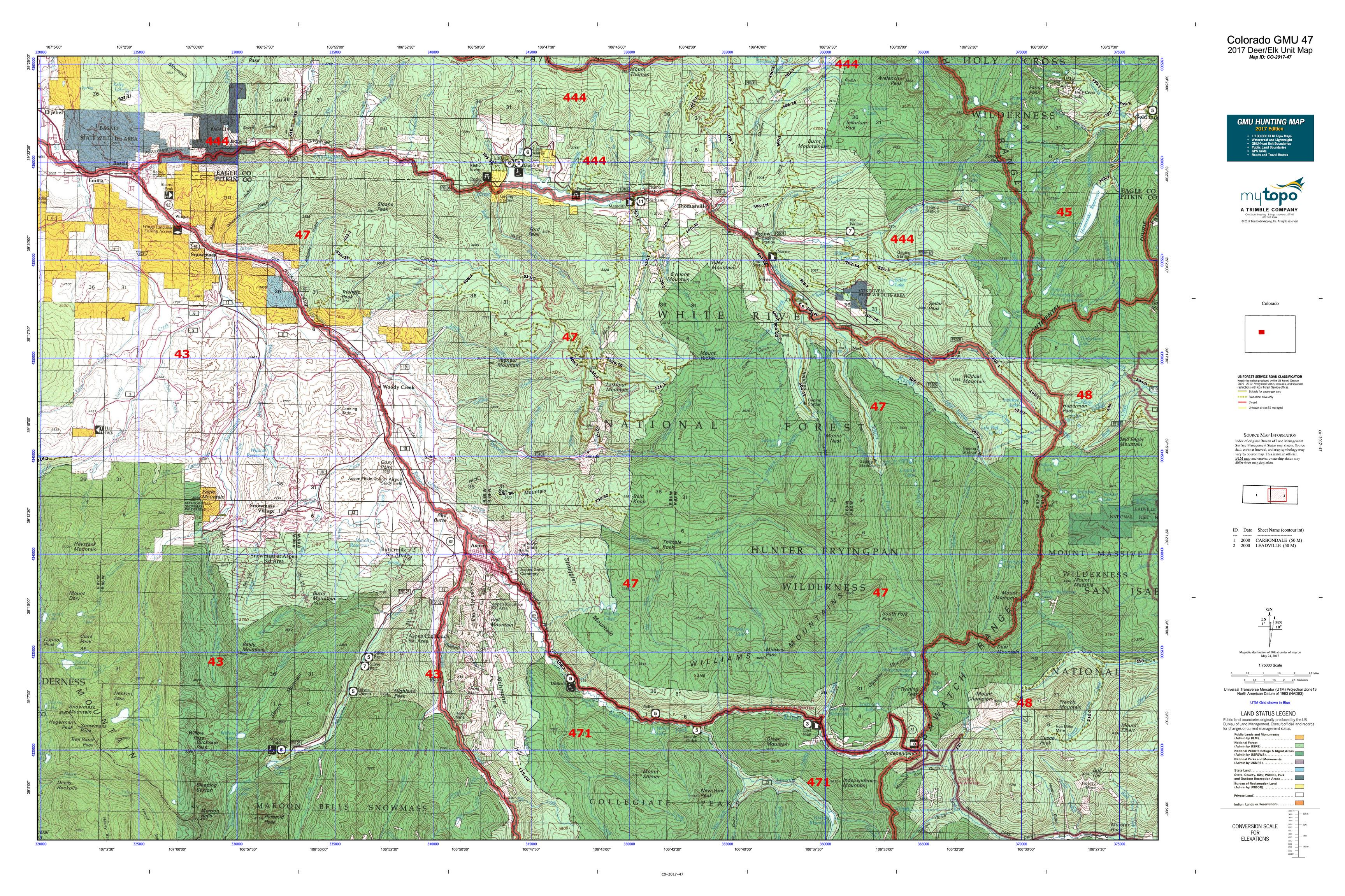 Colorado GMU Map MyTopo - Map of colrado