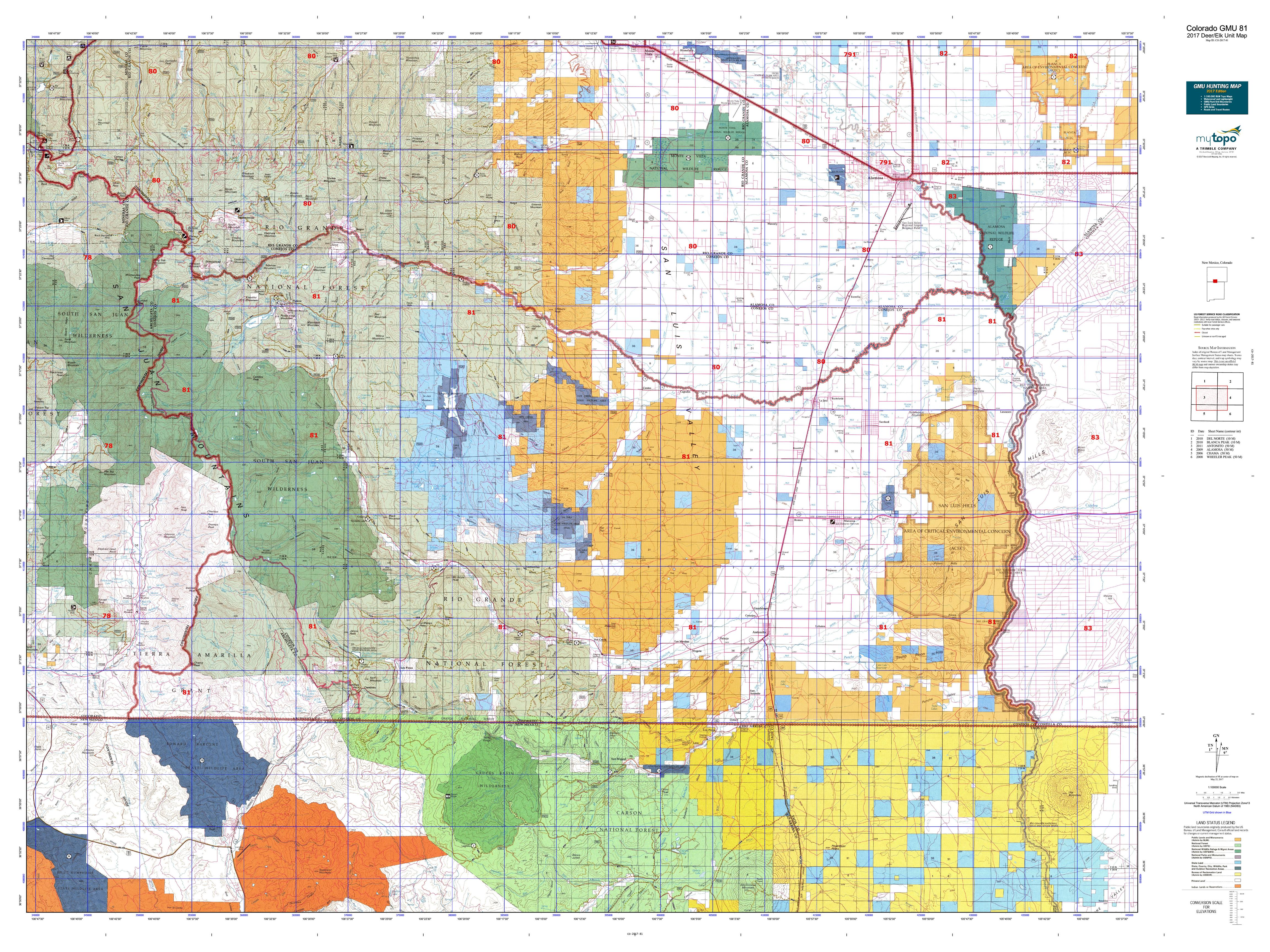 Colorado GMU  Map MyTopo - Map us 81
