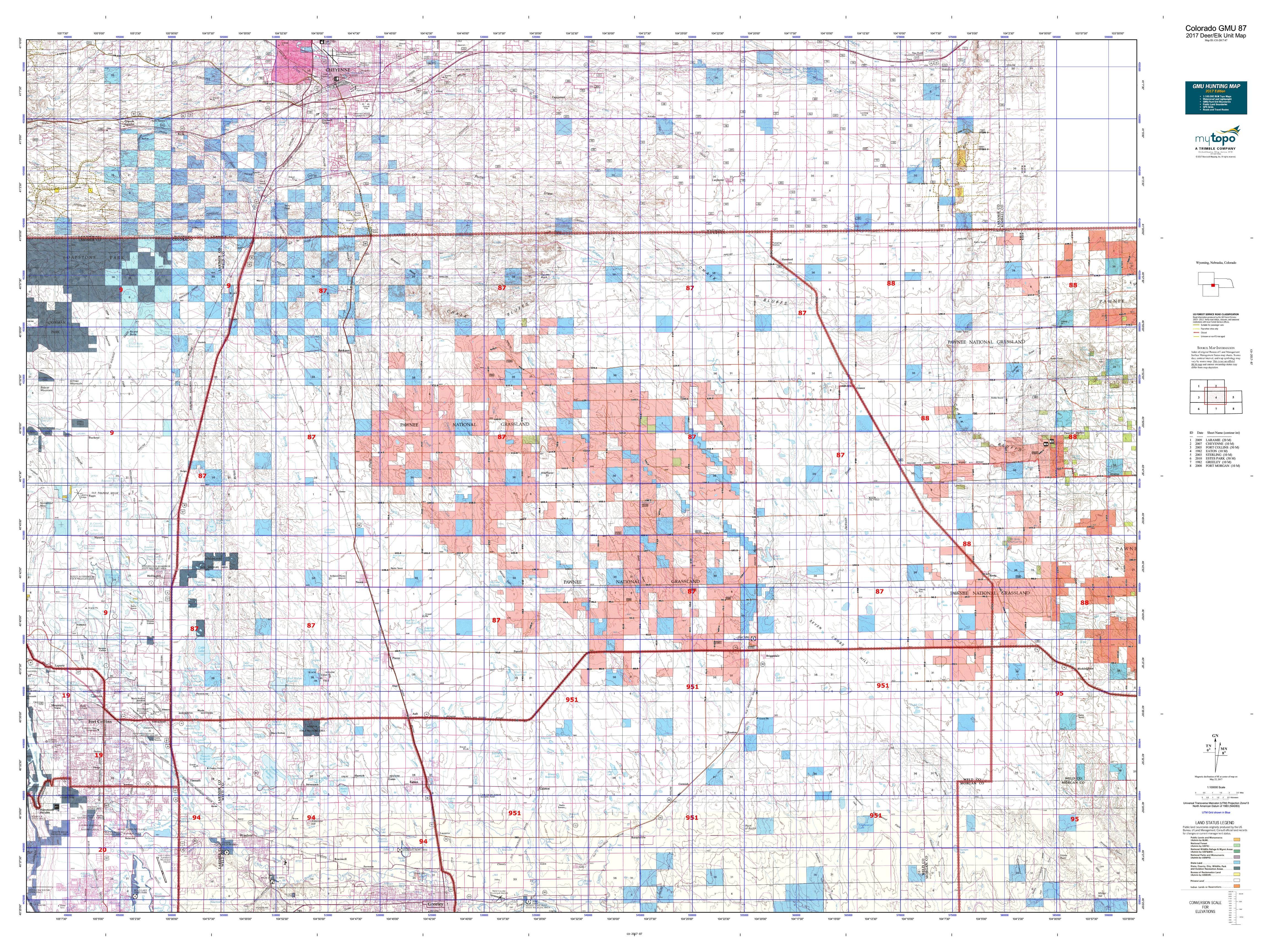 Colorado GMU  Map MyTopo - Map of us 87