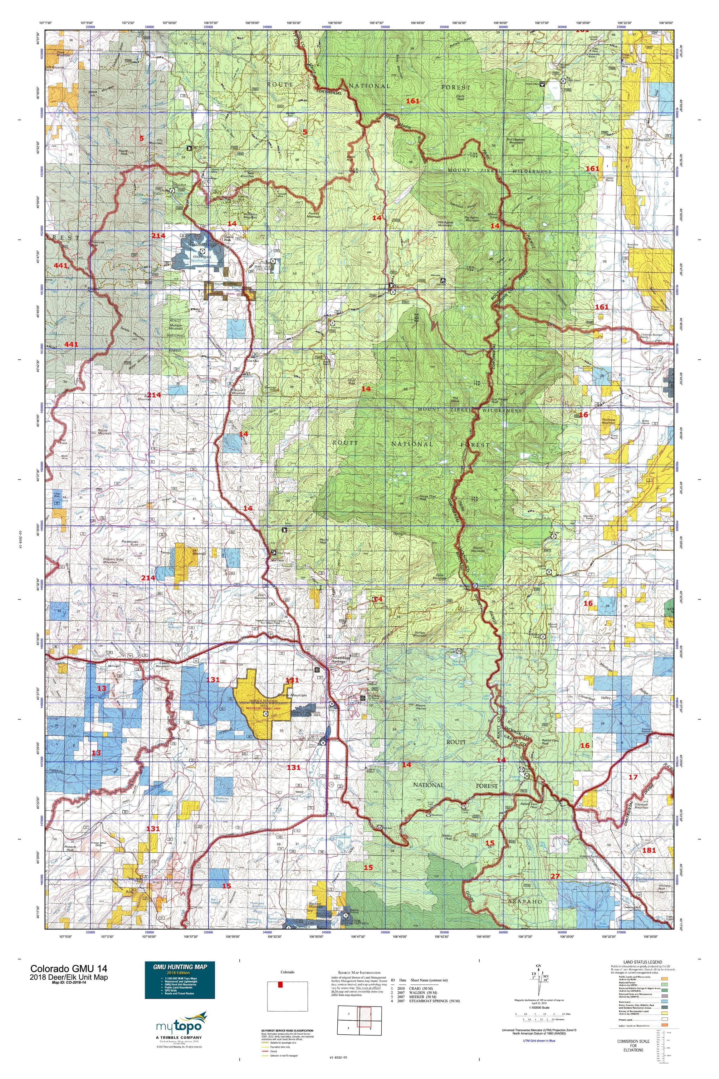 Colorado GMU 14 Map | MyTopo