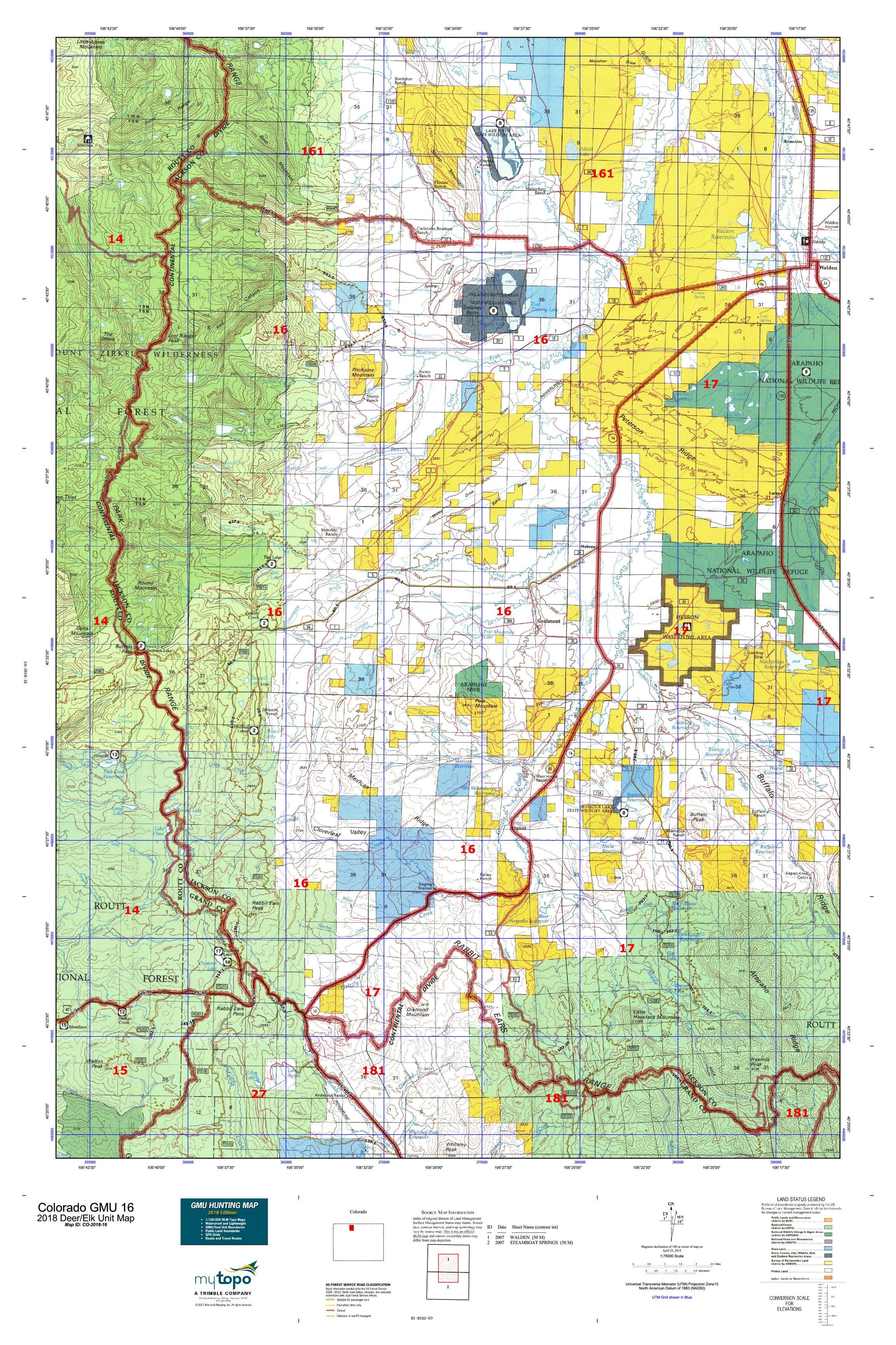 Colorado GMU 16 Map | MyTopo