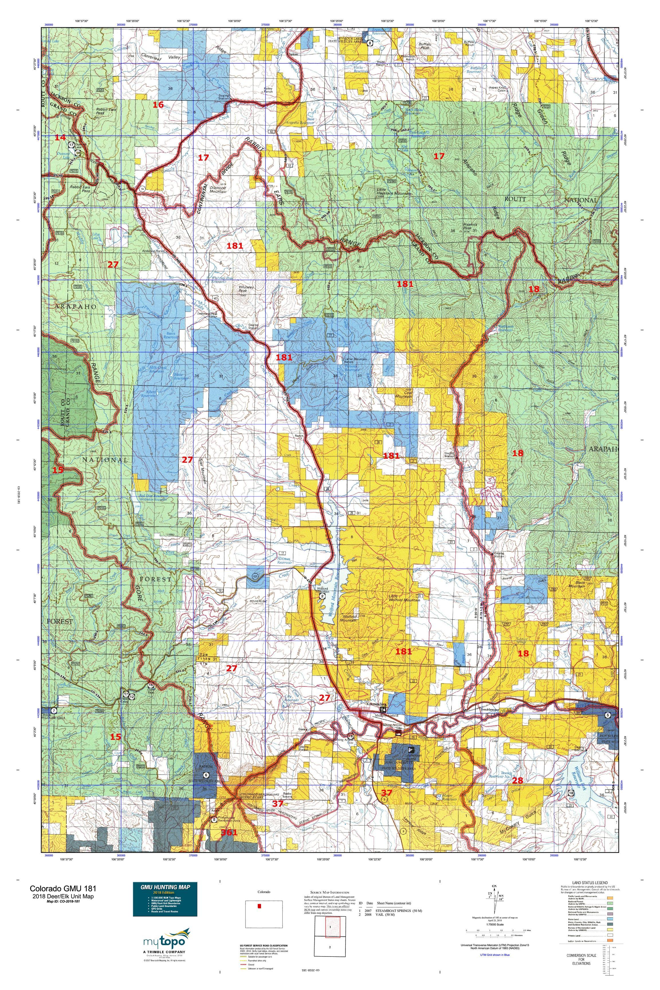 Colorado GMU 181 Map | MyTopo