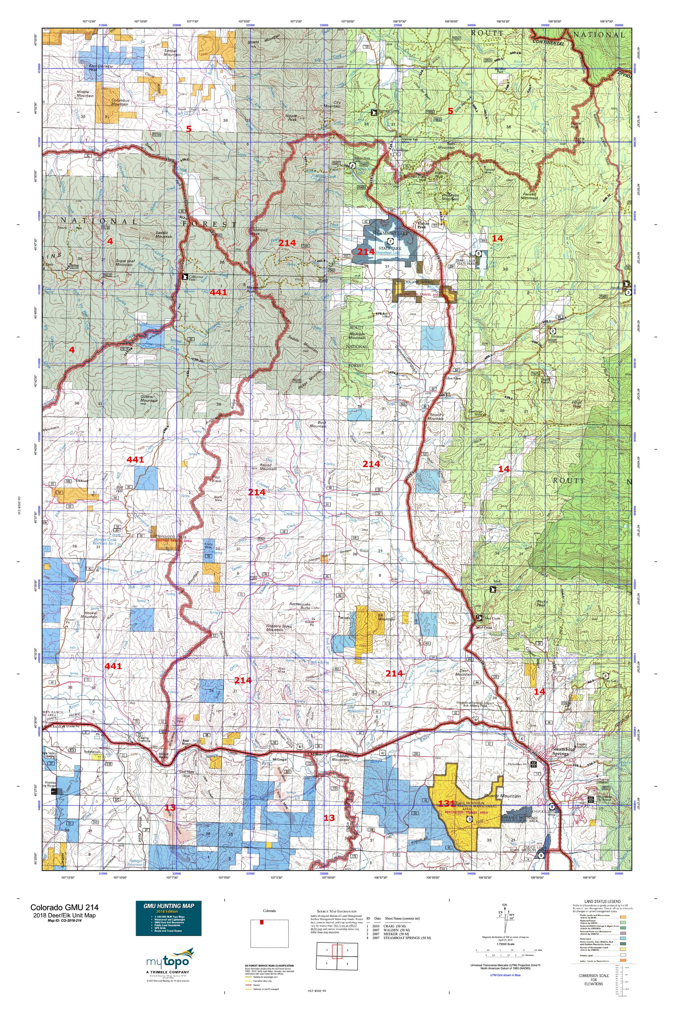 Colorado GMU 214 Map | MyTopo