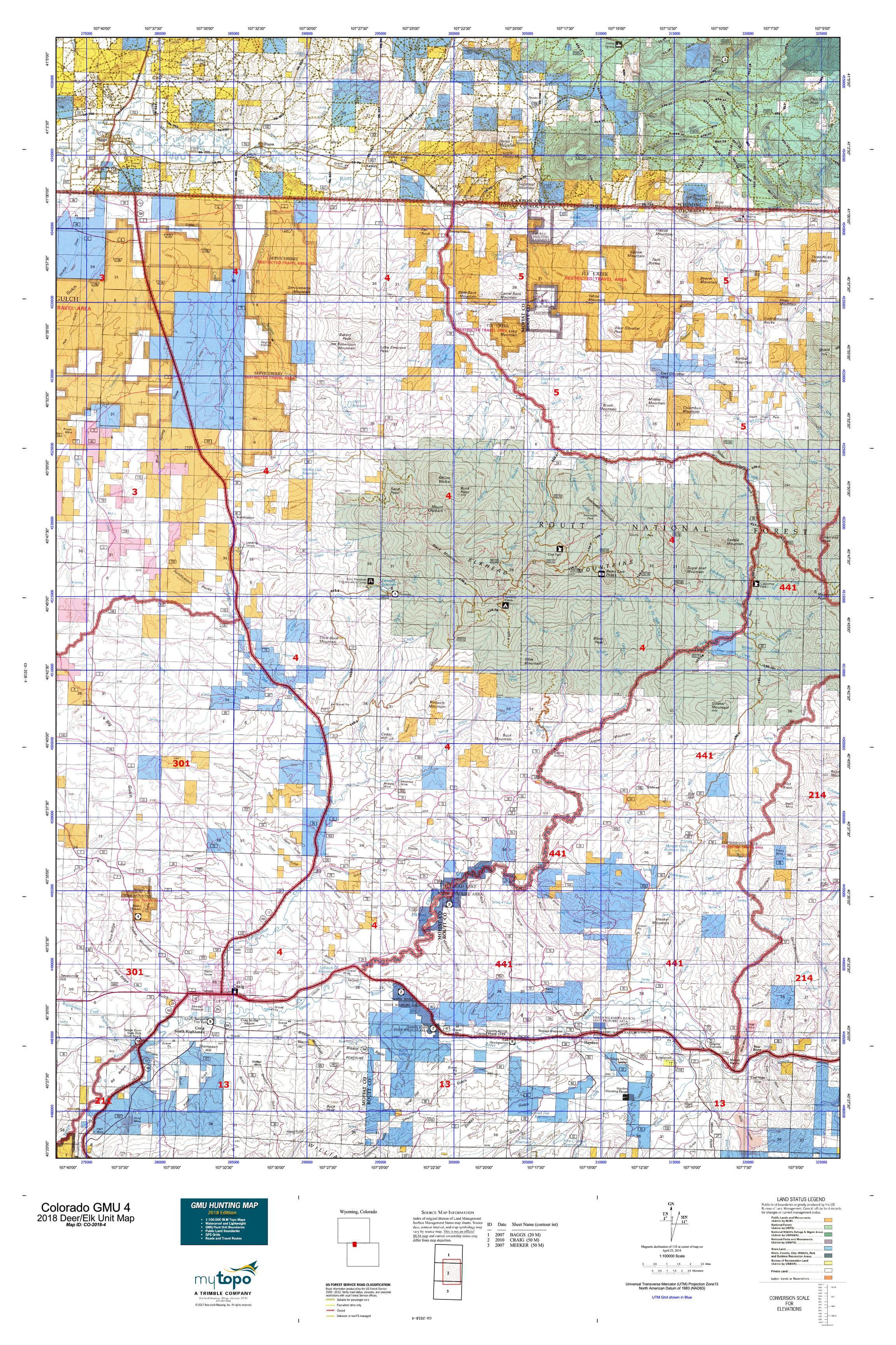Colorado Gmu Map Colorado GMU 4 Map | MyTopo Colorado Gmu Map
