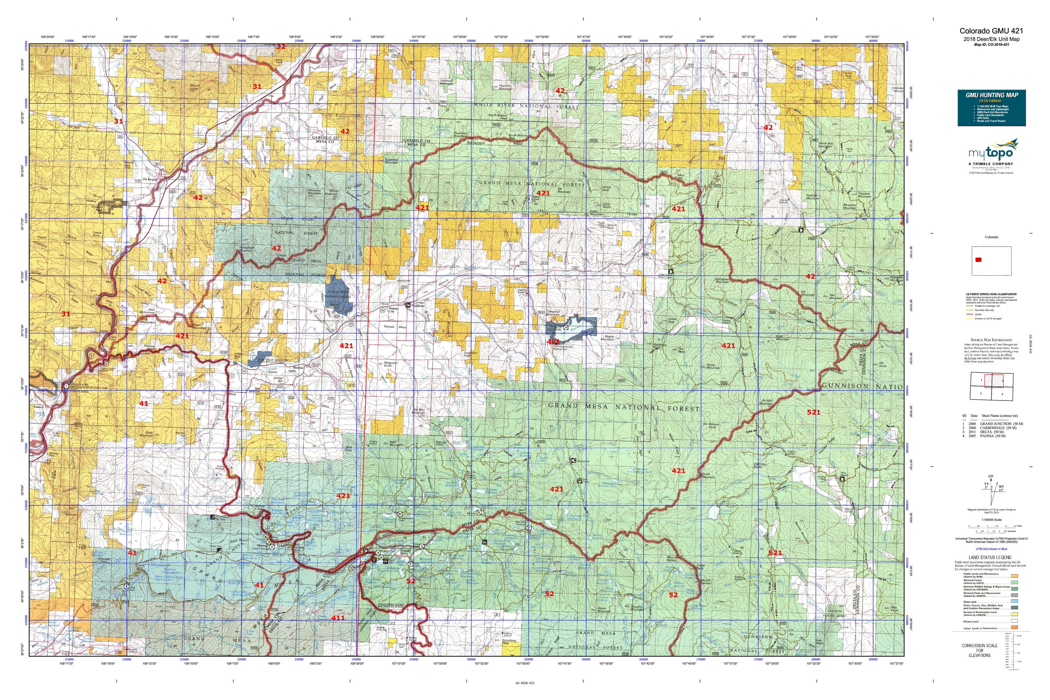 Colorado GMU 421 Map | MyTopo