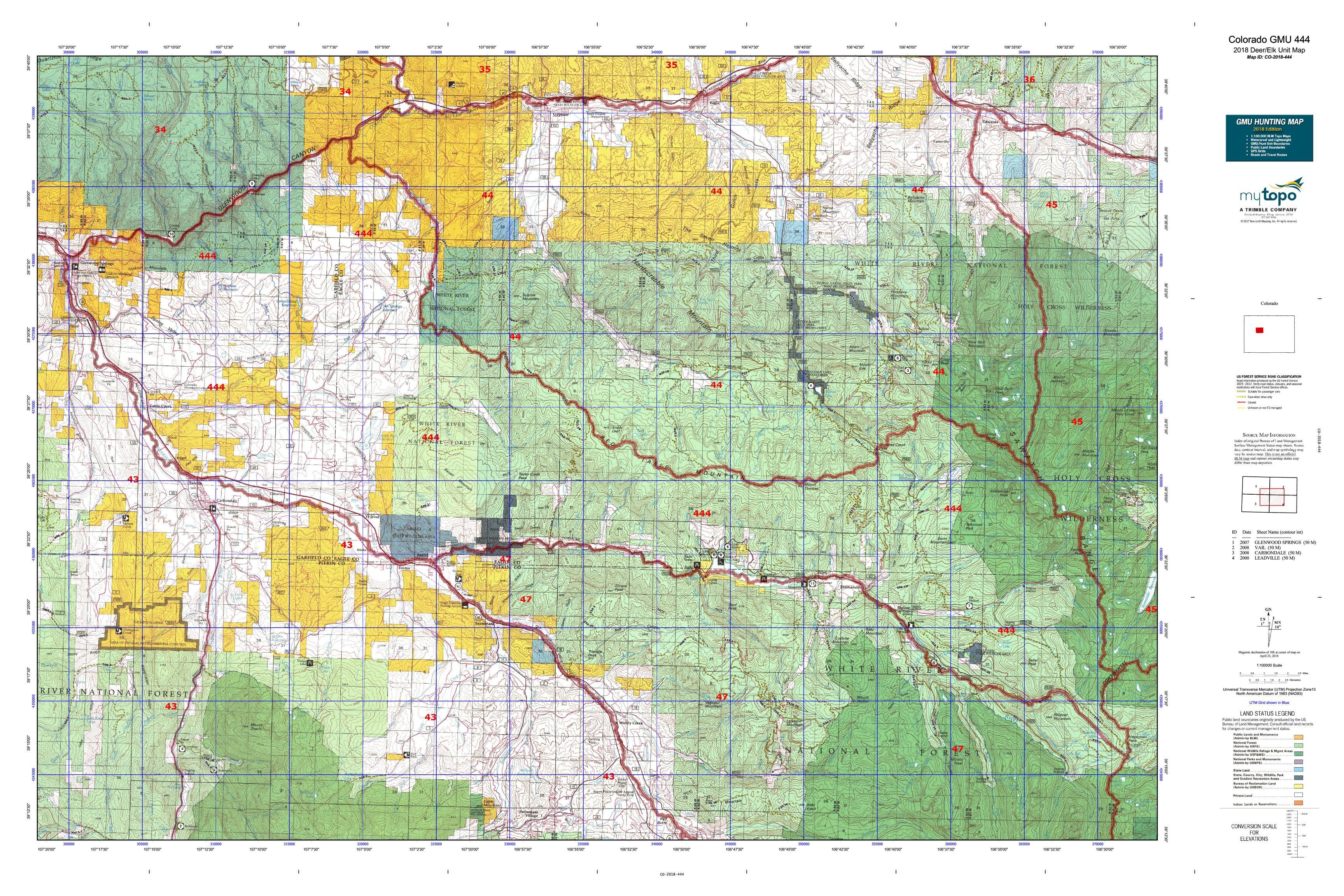Colorado GMU 444 Map | MyTopo