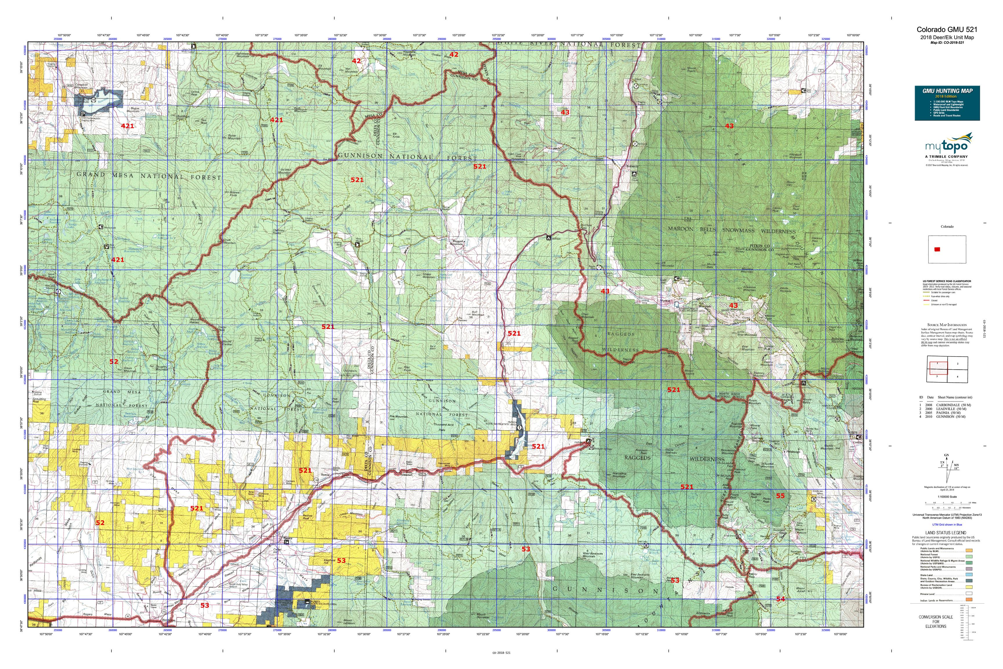 Colorado Elk Hunting Unit Map Colorado GMU 521 Map | MyTopo
