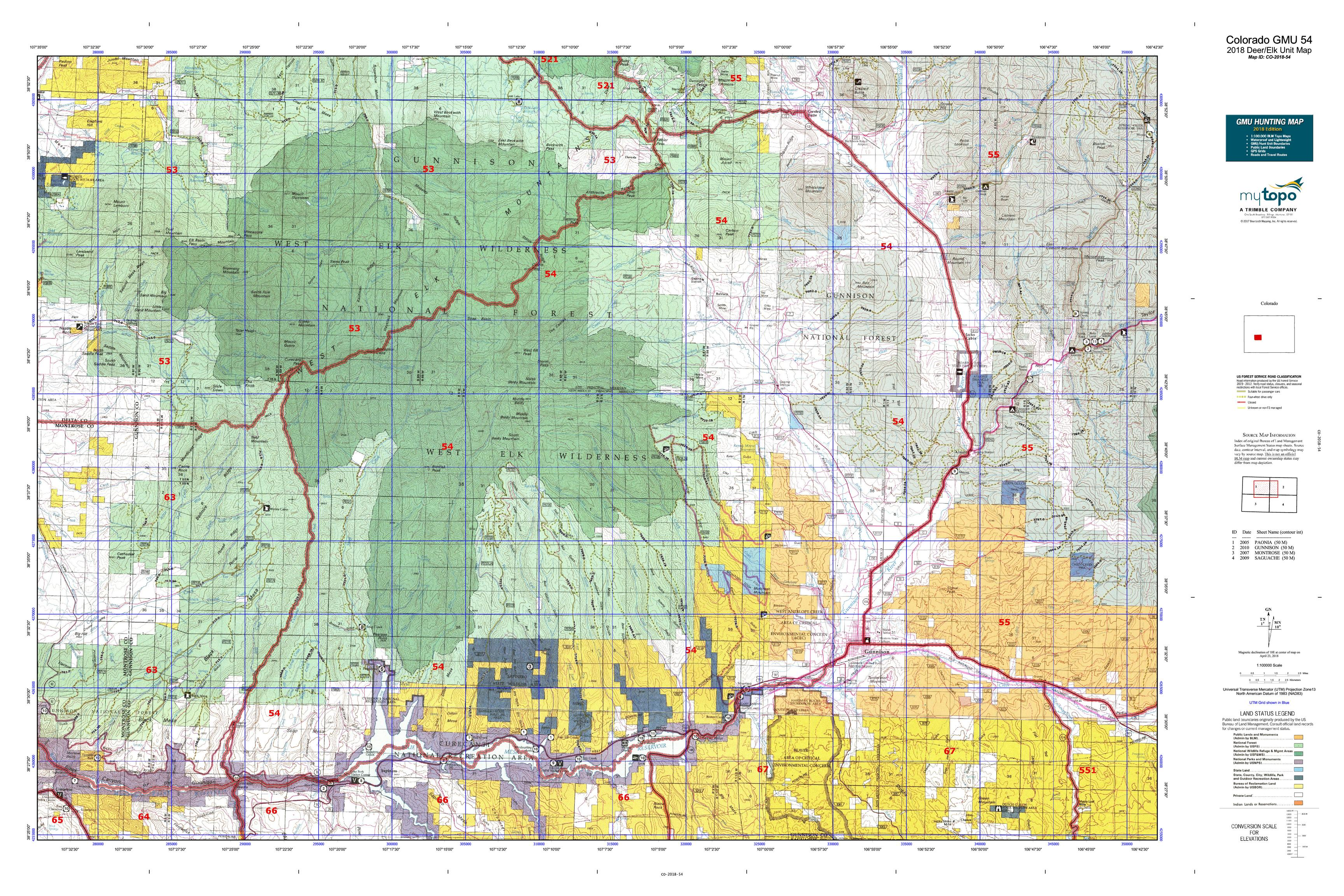 Colorado Gmu Map Colorado GMU 54 Map | MyTopo