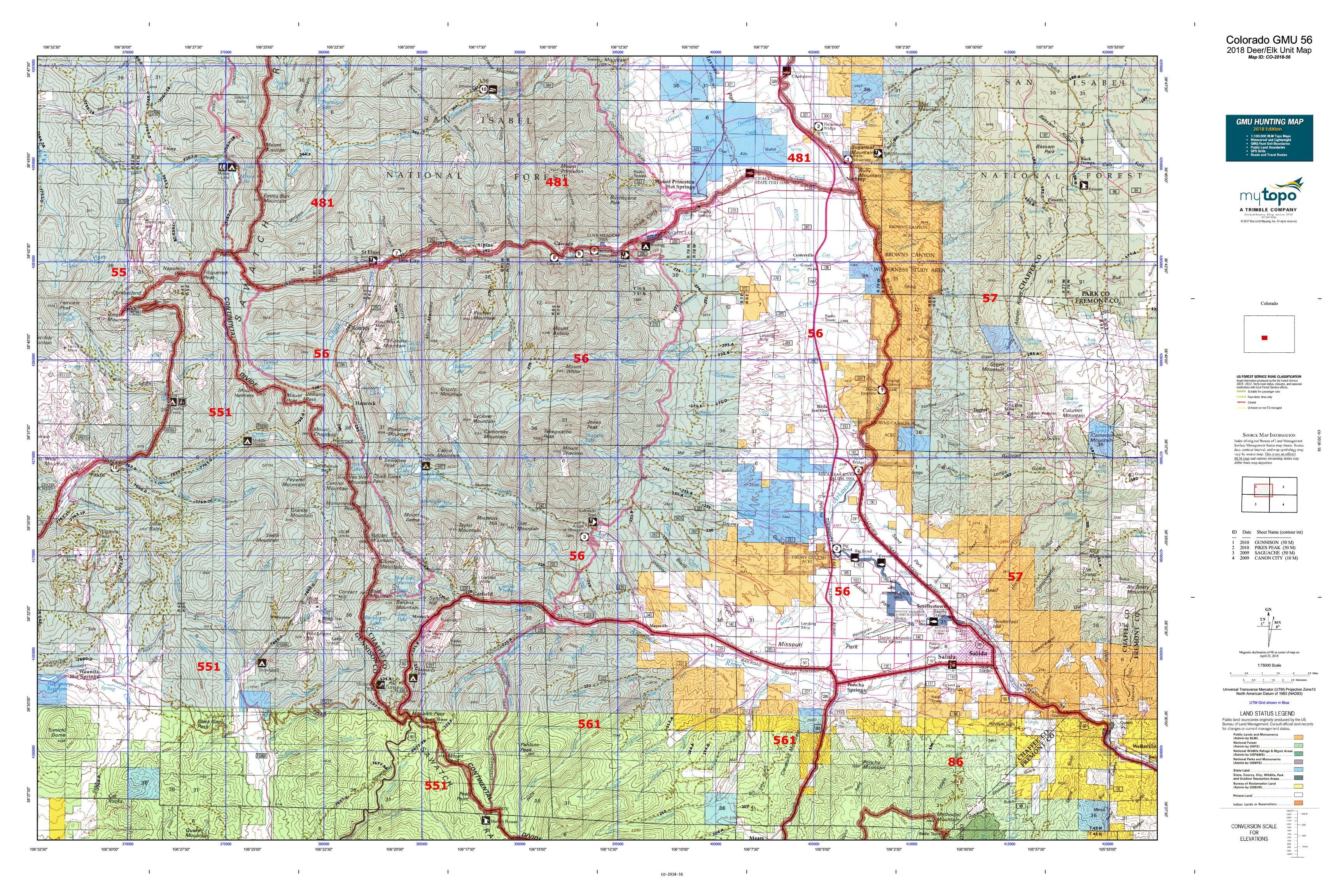 Colorado GMU 56 Map   MyTopo