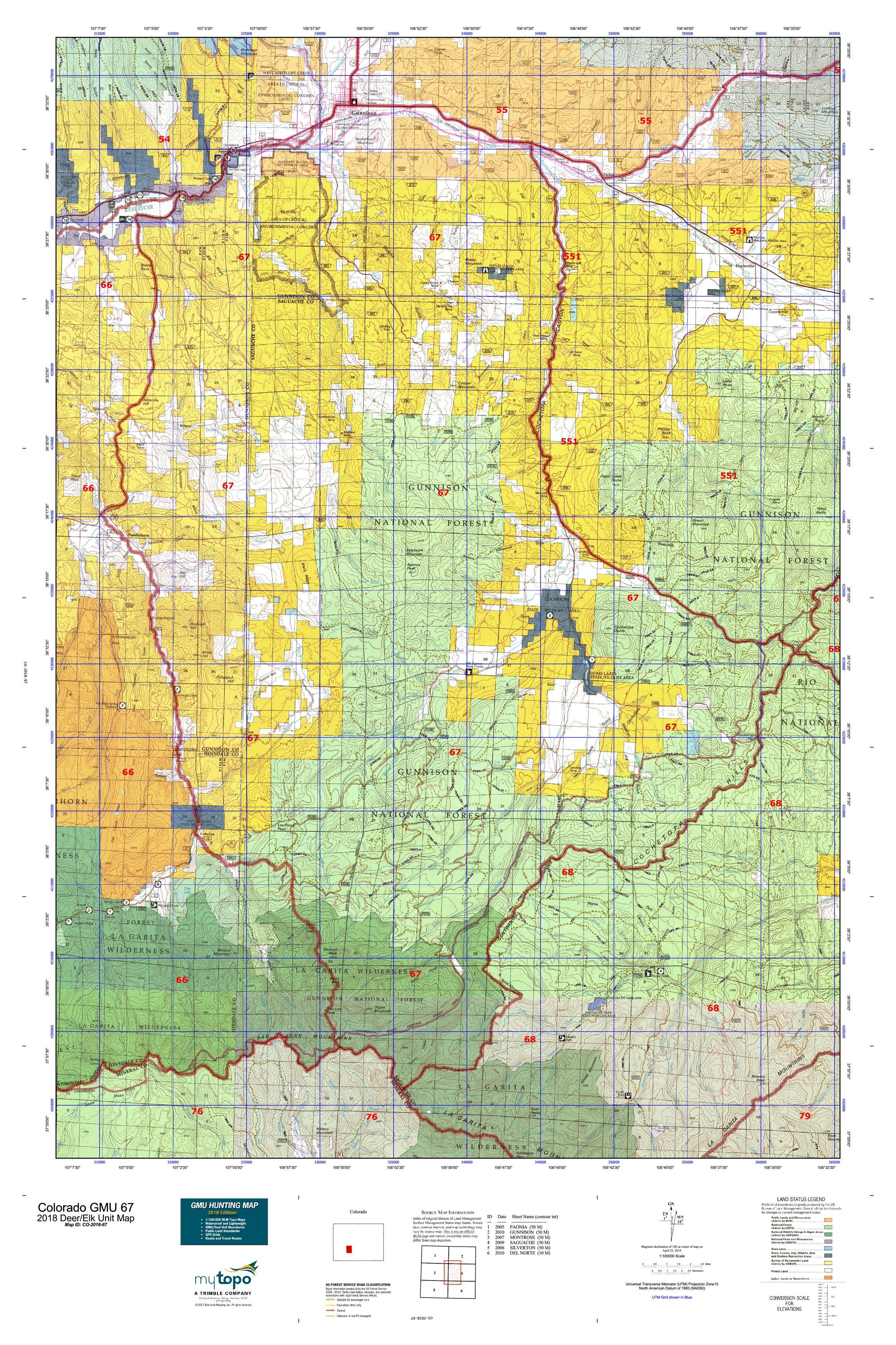 Colorado GMU 67 Map | MyTopo