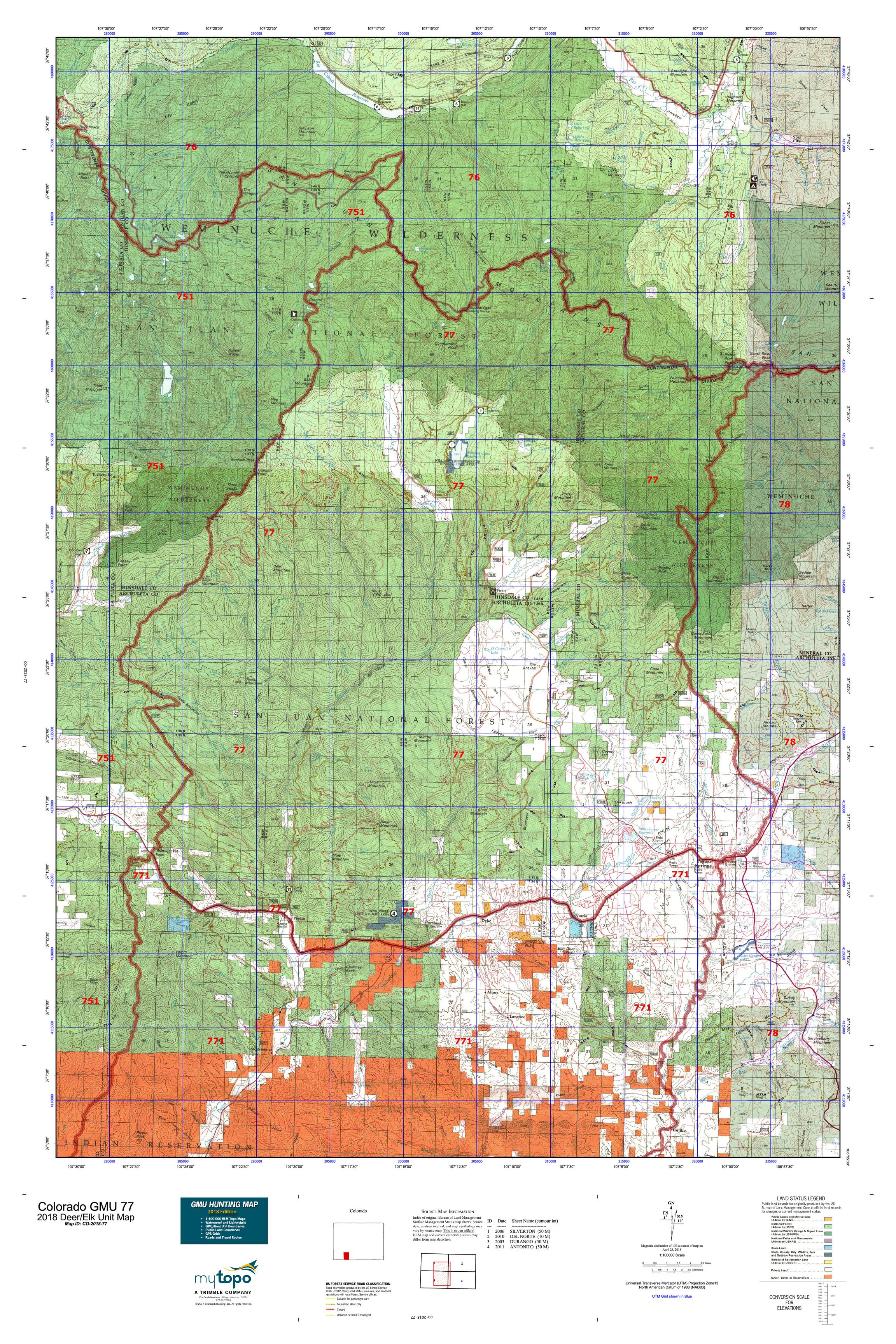 Colorado GMU 77 Map | MyTopo