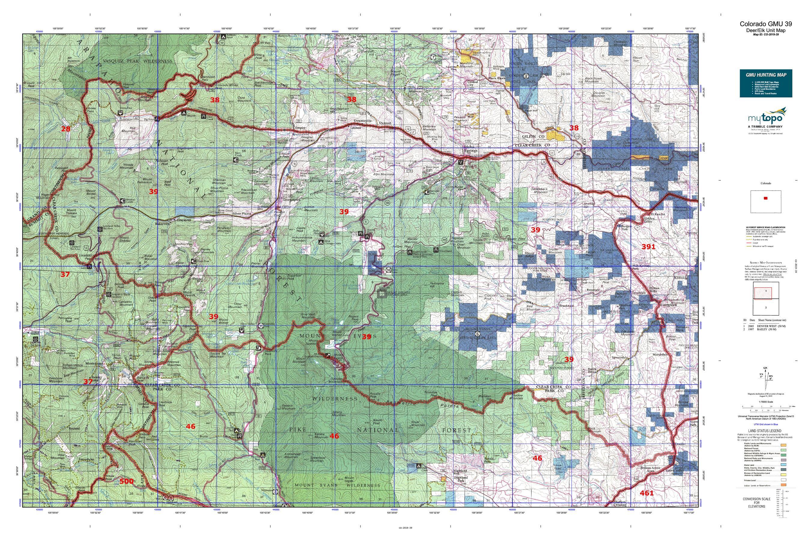 Colorado GMU 39 Map   MyTopo on