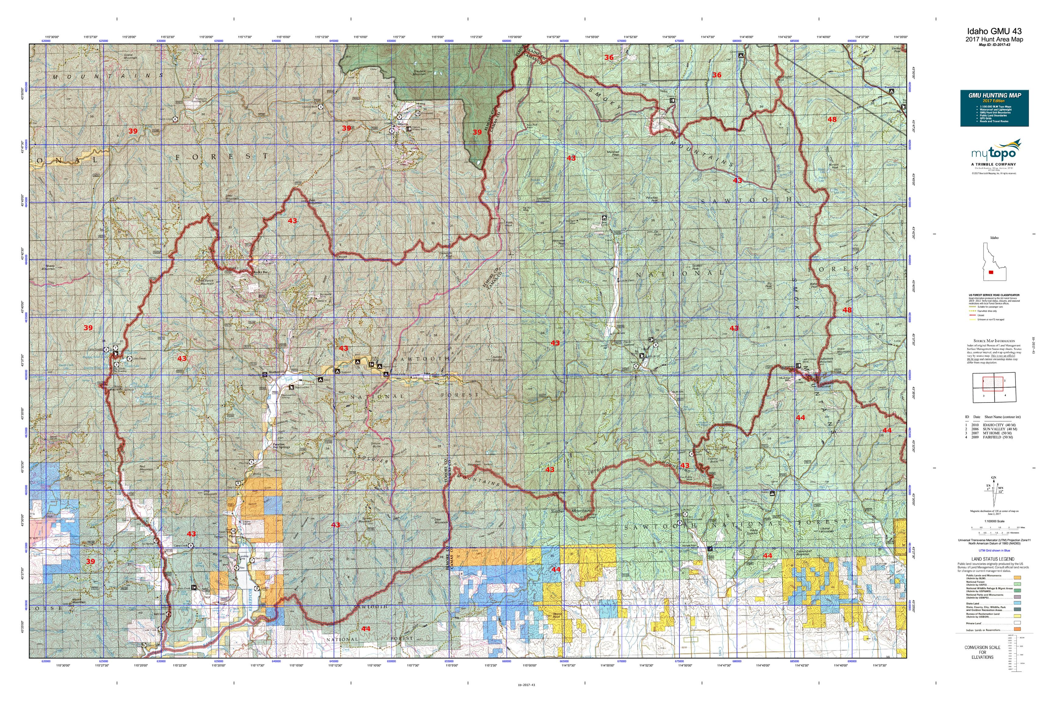 id preview image (click to view). idaho gmu  map  mytopo