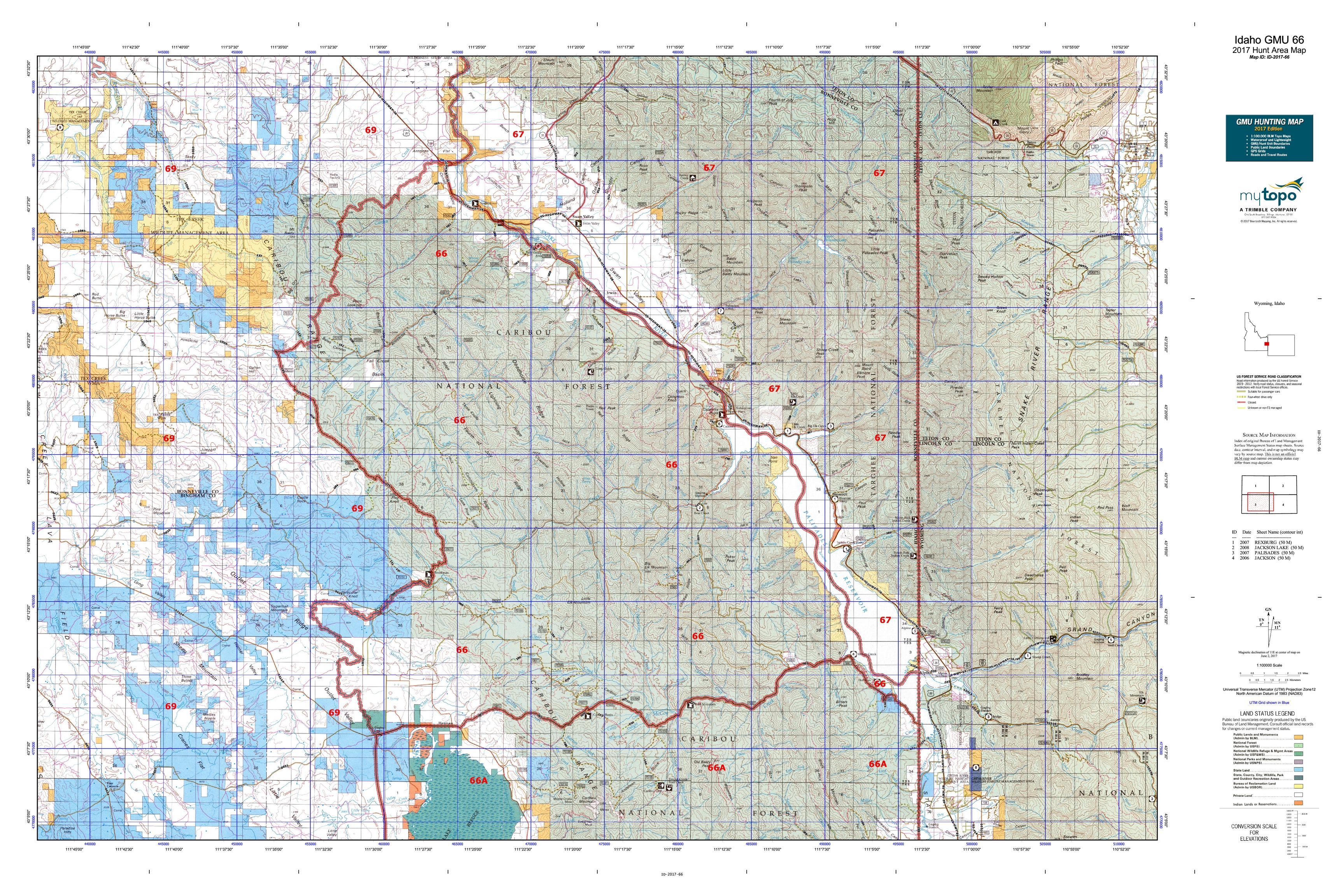 Idaho GMU Map MyTopo - Us 66 map