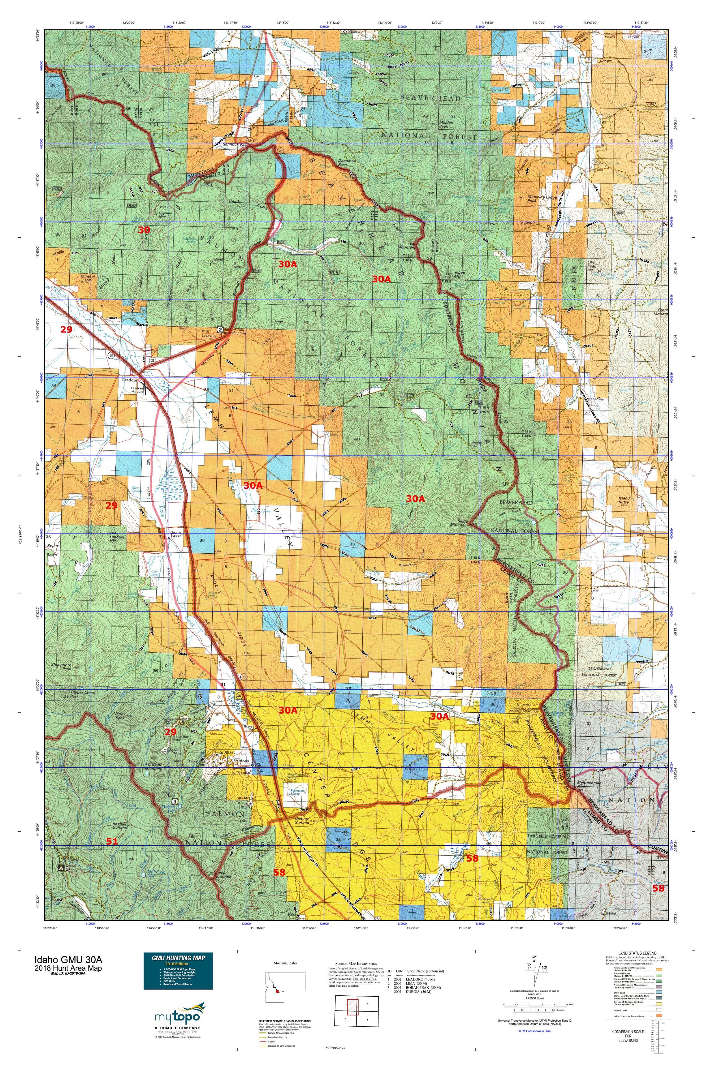 Idaho GMU 30A Map | MyTopo