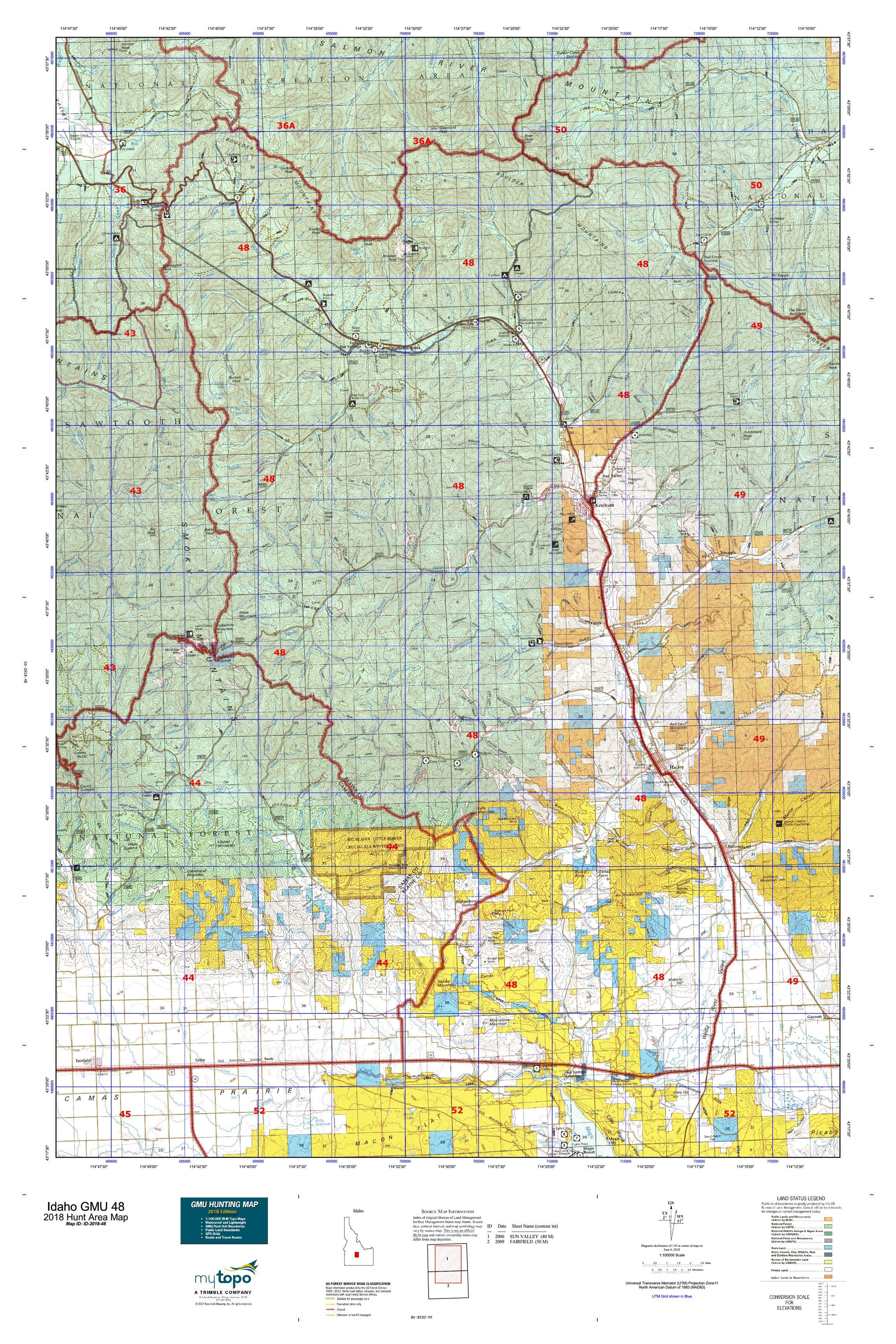Blm Land Idaho Map.Idaho Gmu 48 Map Mytopo