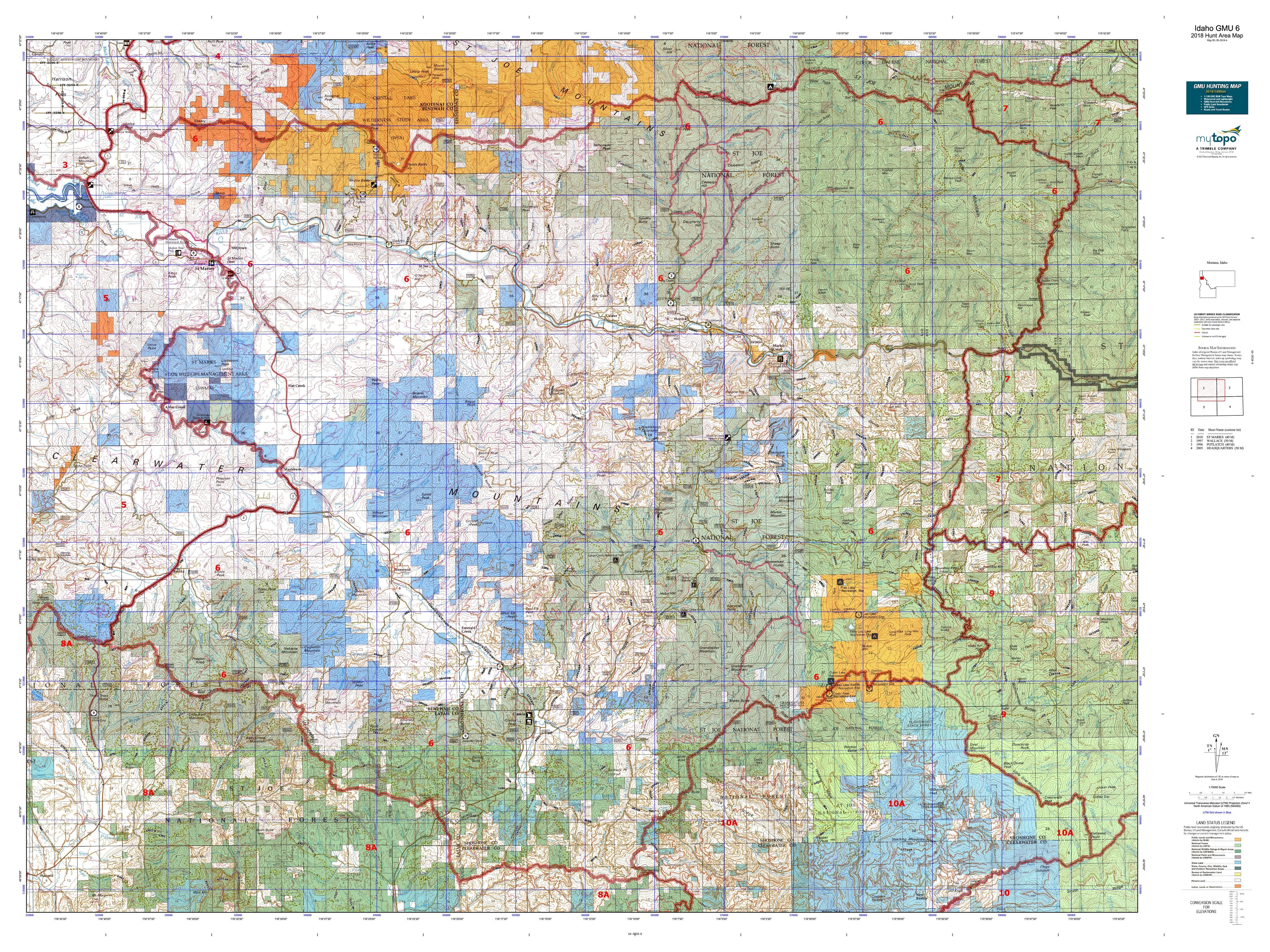 Potlatch Idaho Map.Idaho Gmu 6 Map Mytopo