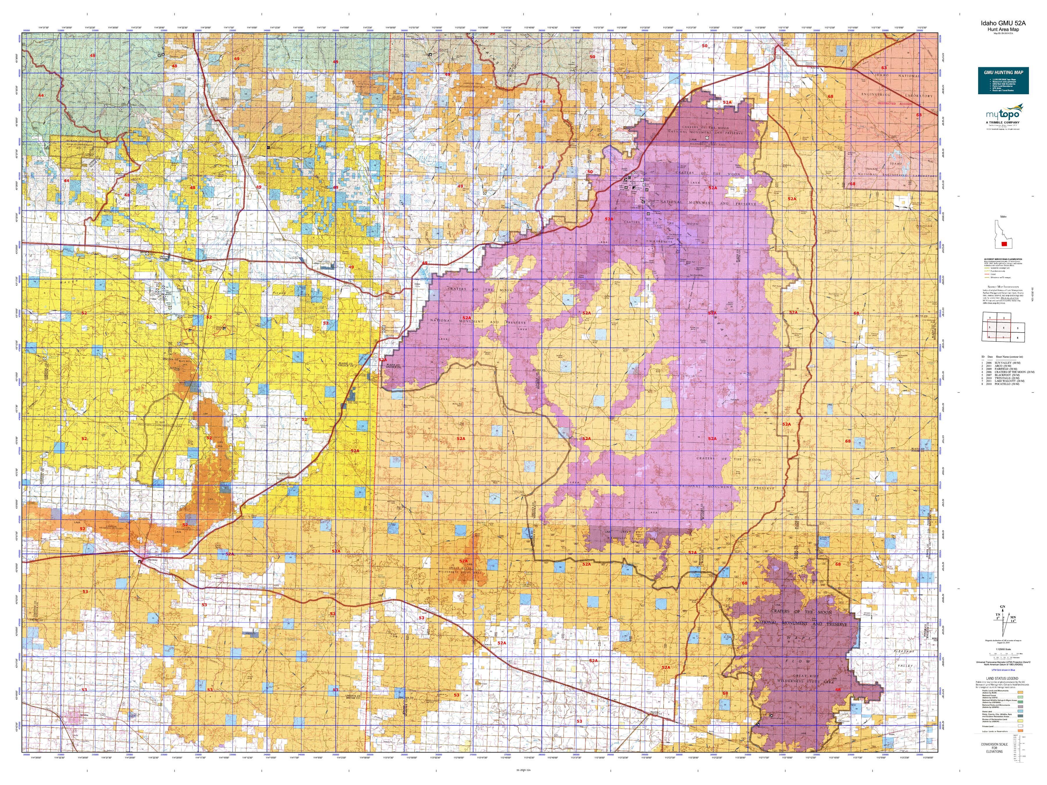 Idaho GMU 52A Map   MyTopo