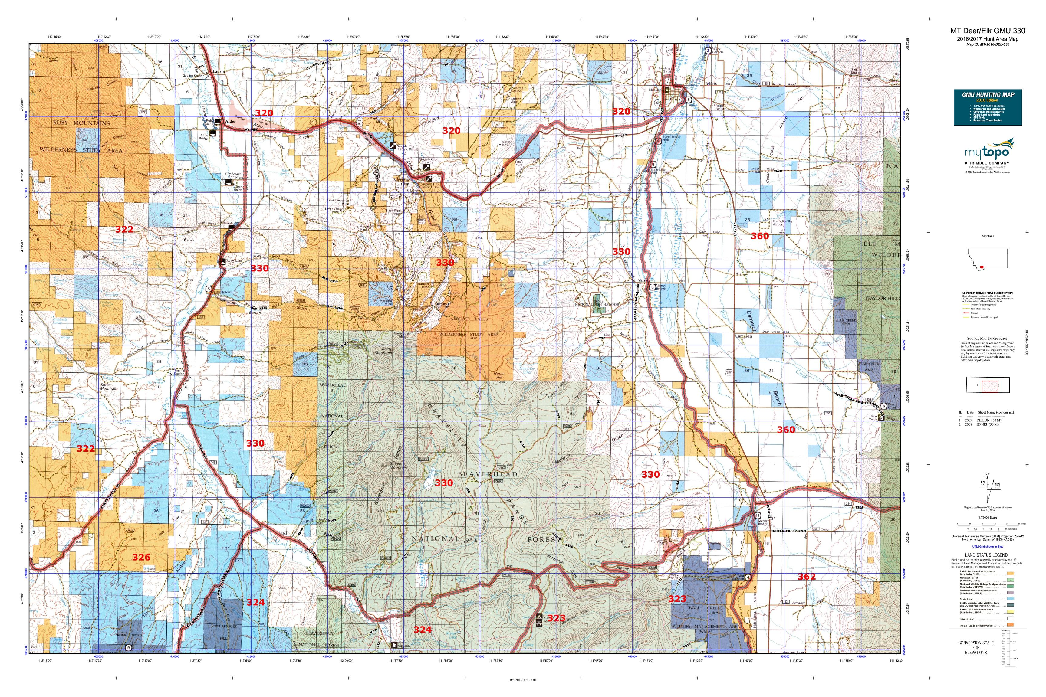 MT Deer/Elk GMU 330 Map | MyTopo on